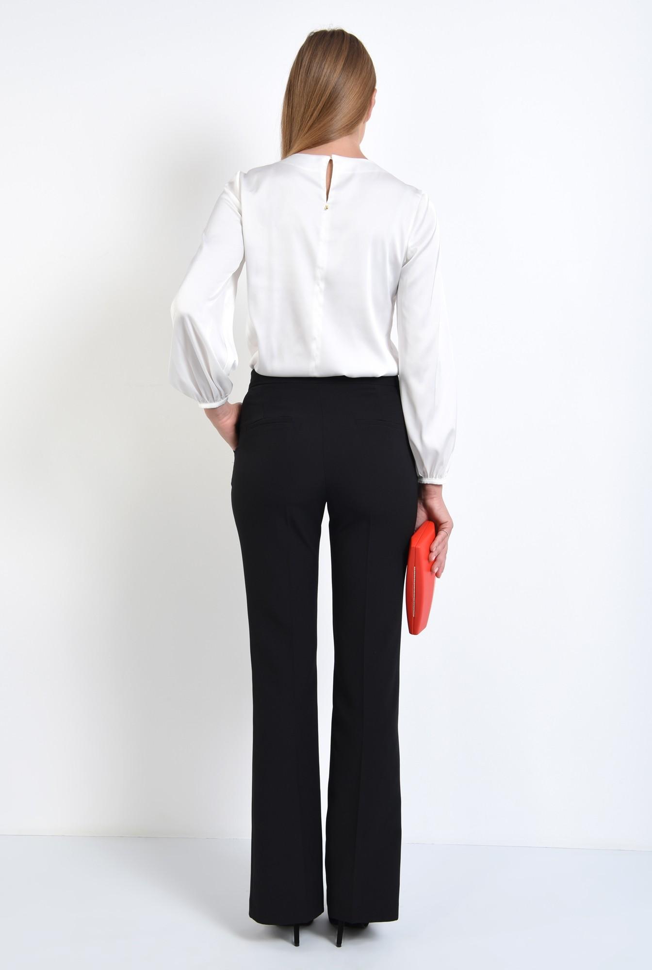 1 - 360 - bluza eleganta, alba, cu volane, insertie dantela, satin