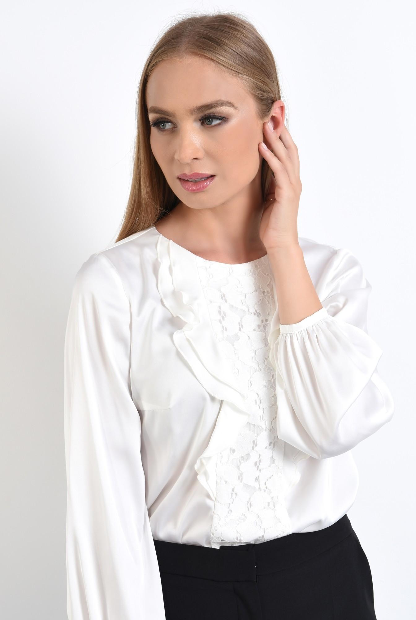 2 - 360 - bluza eleganta, alba, cu volane, insertie dantela, satin