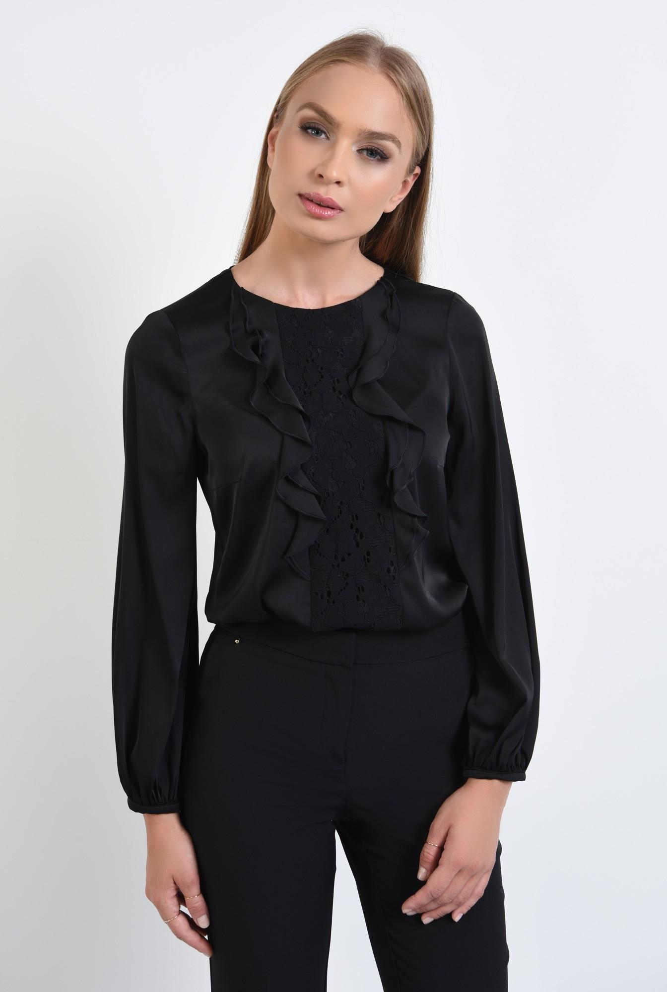 0 - 360 - bluza eleganta, cu volane, dantela aplicata, maneci lungi, mansete elastice