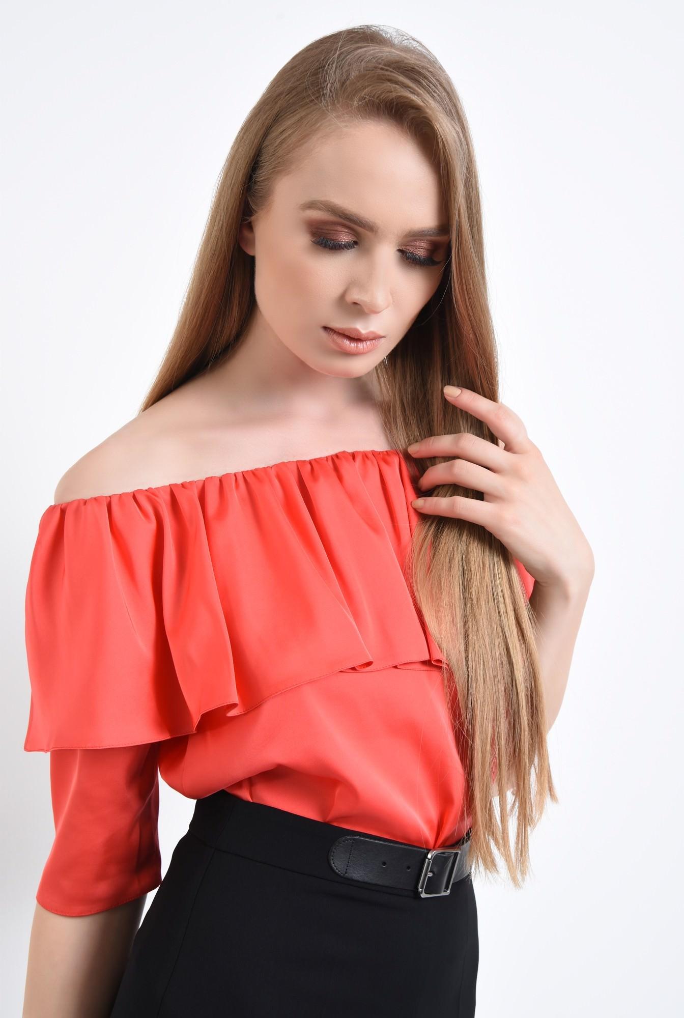 2 - Bluza eleganta, satin, rosu