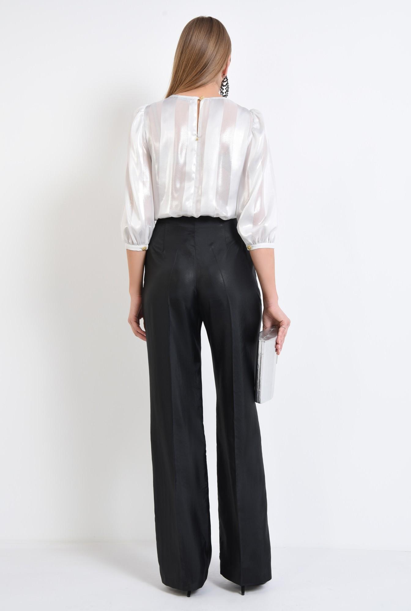 1 - 360 - bluza eleganta argintie, sifon, dungi, pliseuri la decolteu