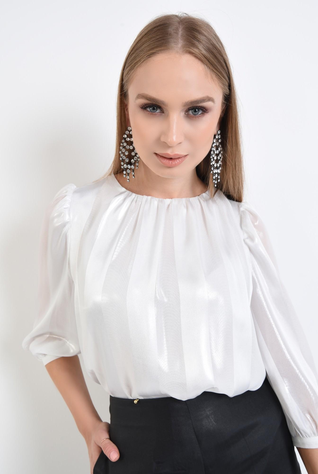 2 - 360 - bluza eleganta argintie, sifon, dungi, pliseuri la decolteu