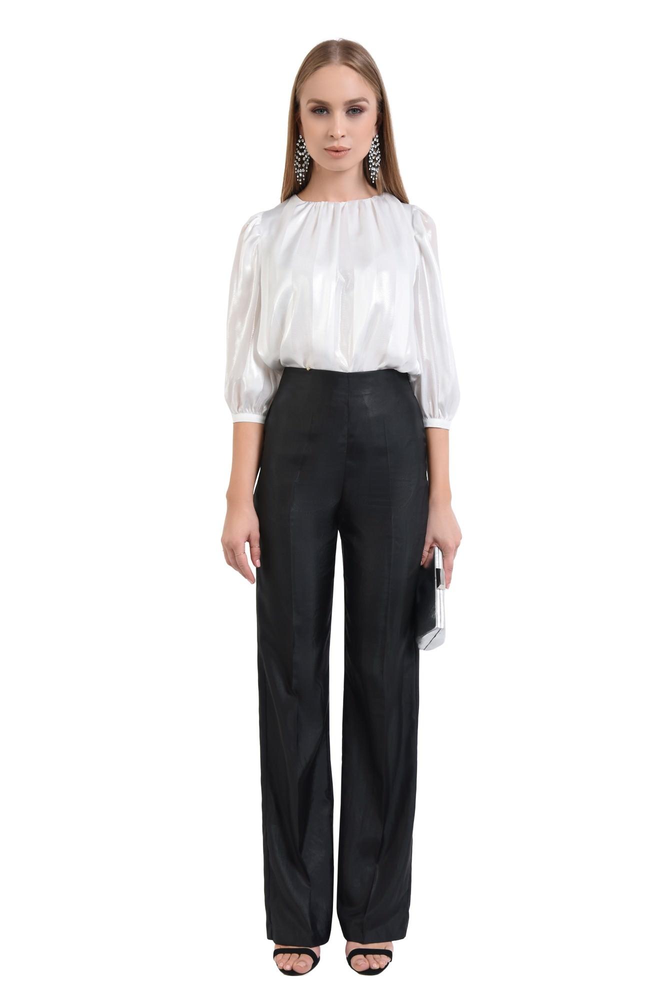 3 - 360 - bluza eleganta argintie, sifon, dungi, pliseuri la decolteu