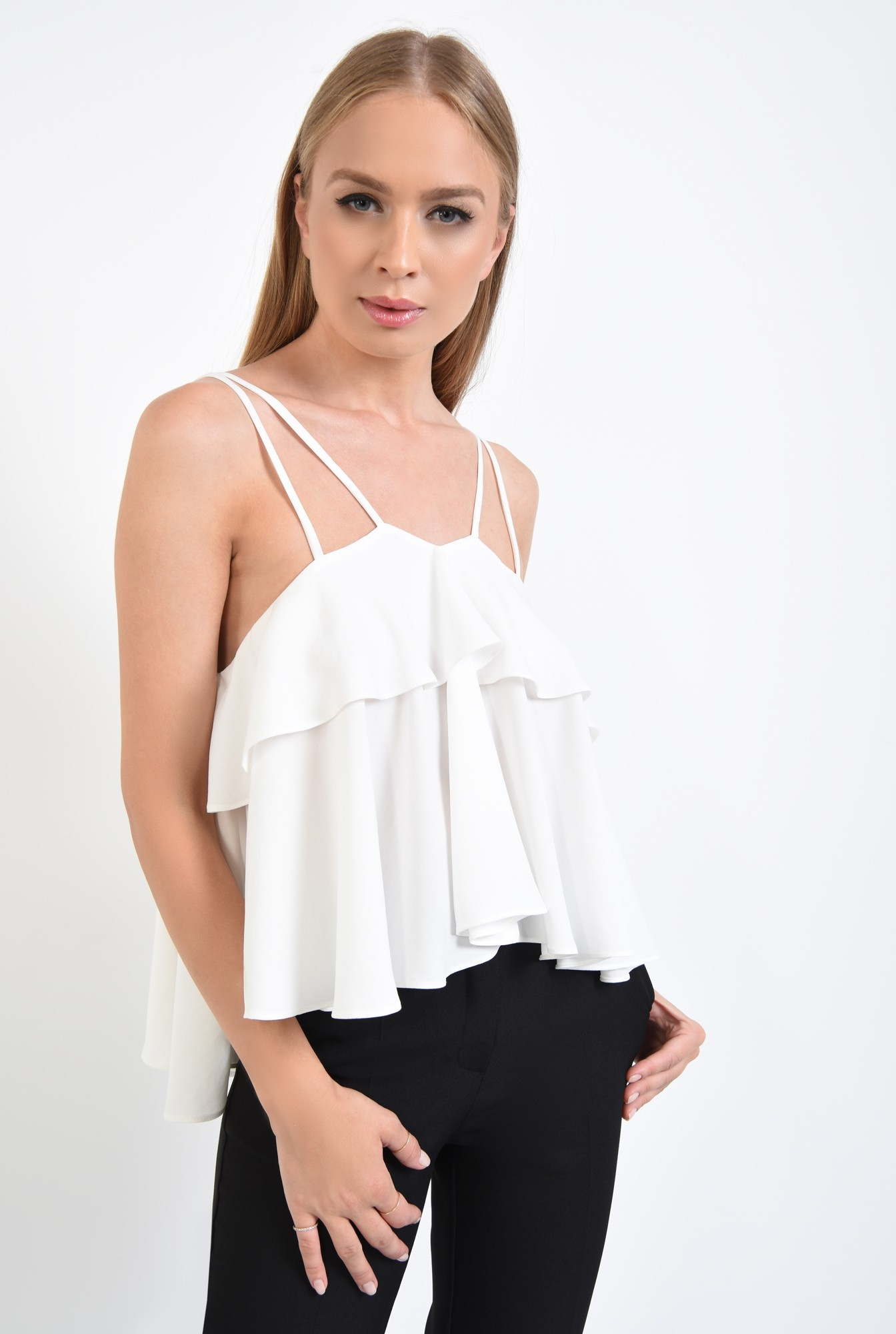 1 - 360 - bluza eleganta, alba, croi lejer, bretele fine, bluze online, lungime asimetrica