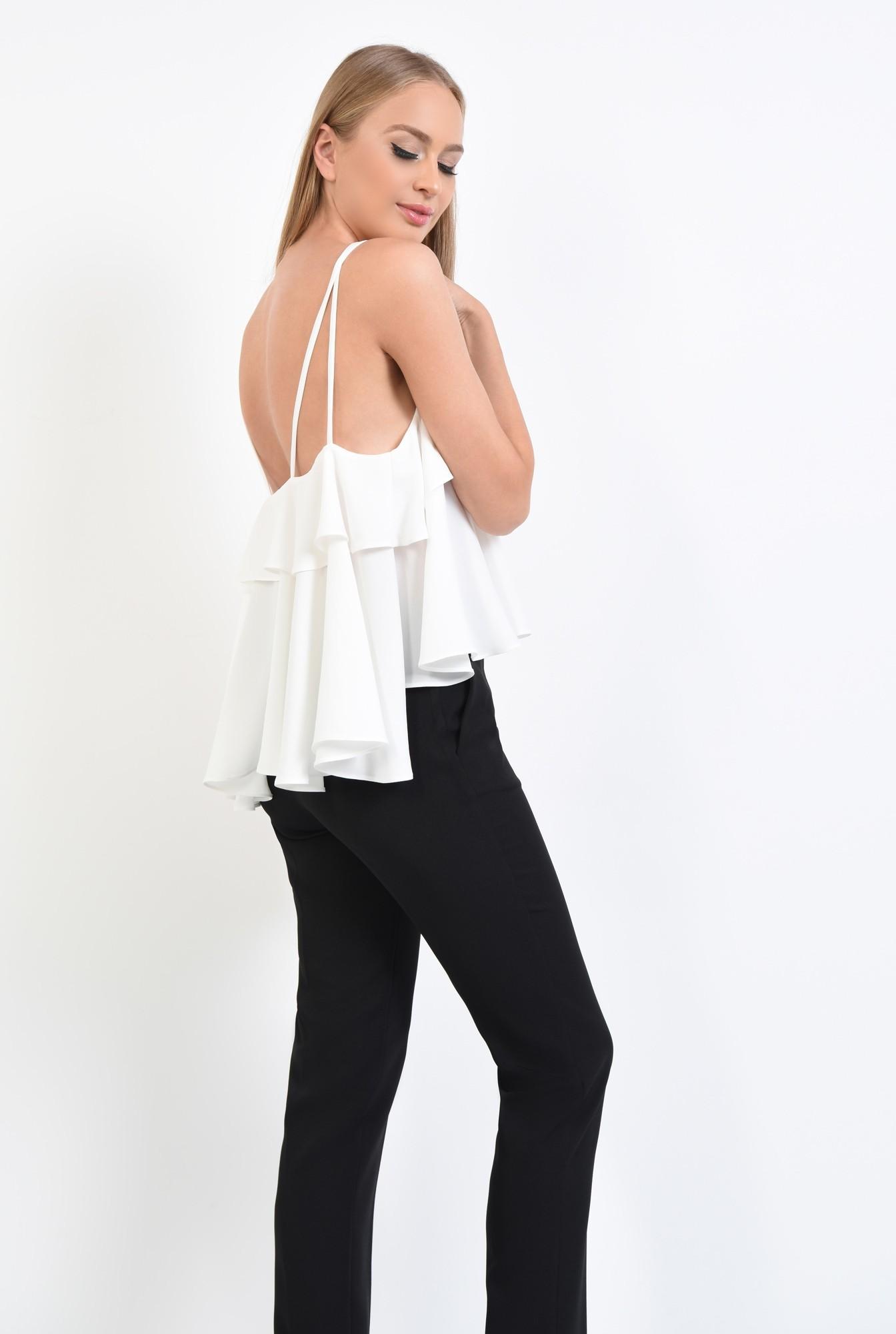 0 - 360 - bluza eleganta, alba, croi lejer, bretele fine, bluze online, lungime asimetrica