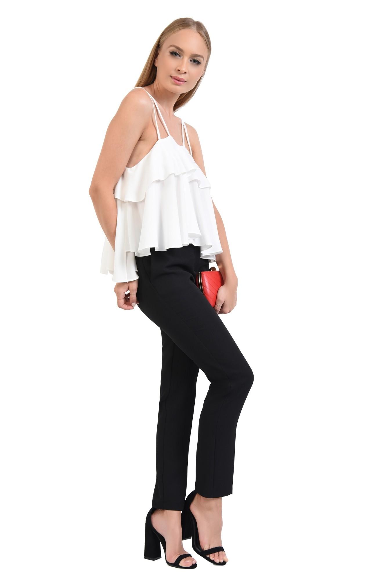 2 - 360 - bluza eleganta, alba, croi lejer, bretele fine, bluze online, lungime asimetrica
