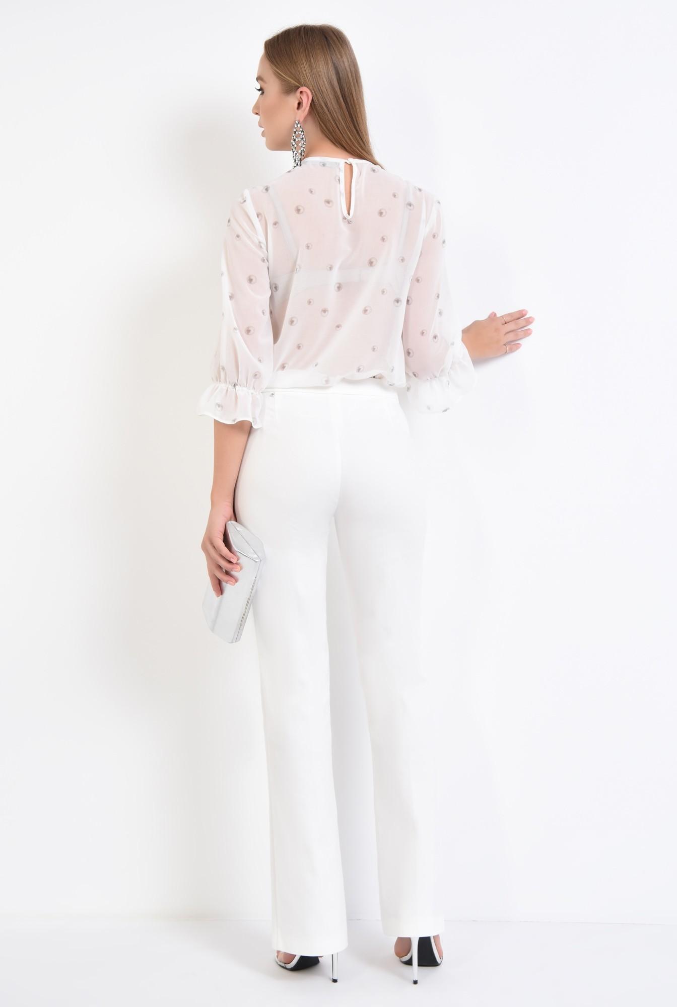 1 - bluza eleganta, voal, dantela, cu imprimeu, alb