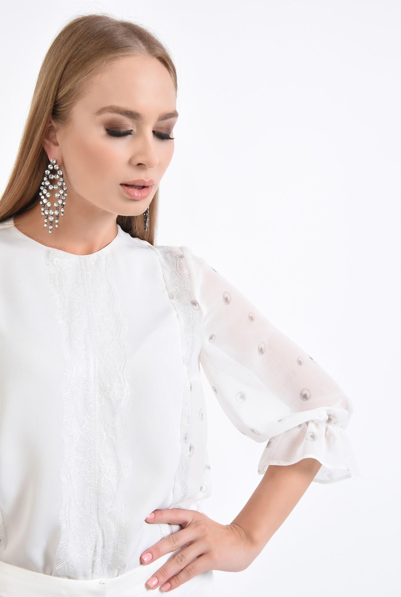2 - bluza eleganta, voal, dantela, cu imprimeu, alb