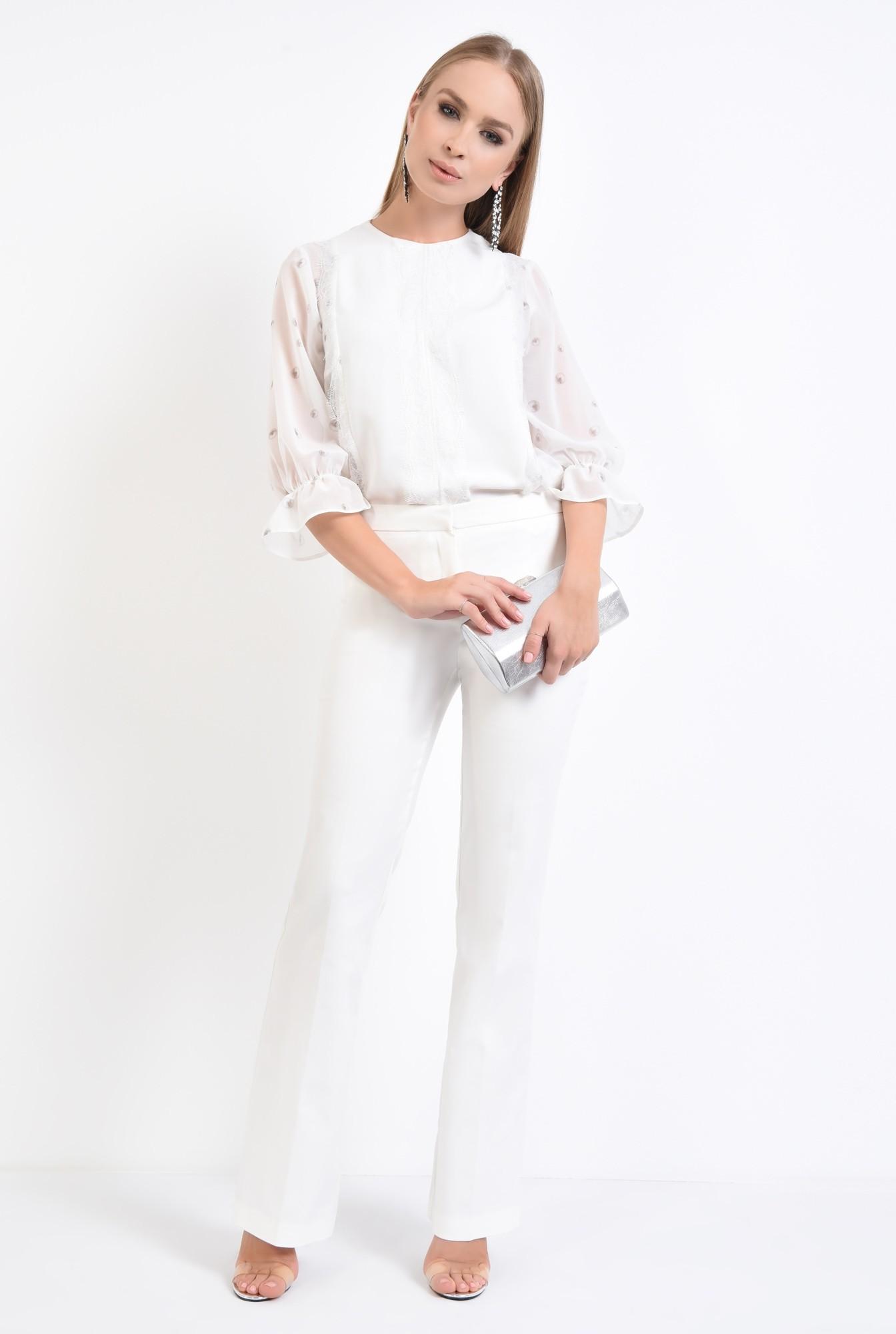 3 - bluza eleganta, voal, dantela, cu imprimeu, alb