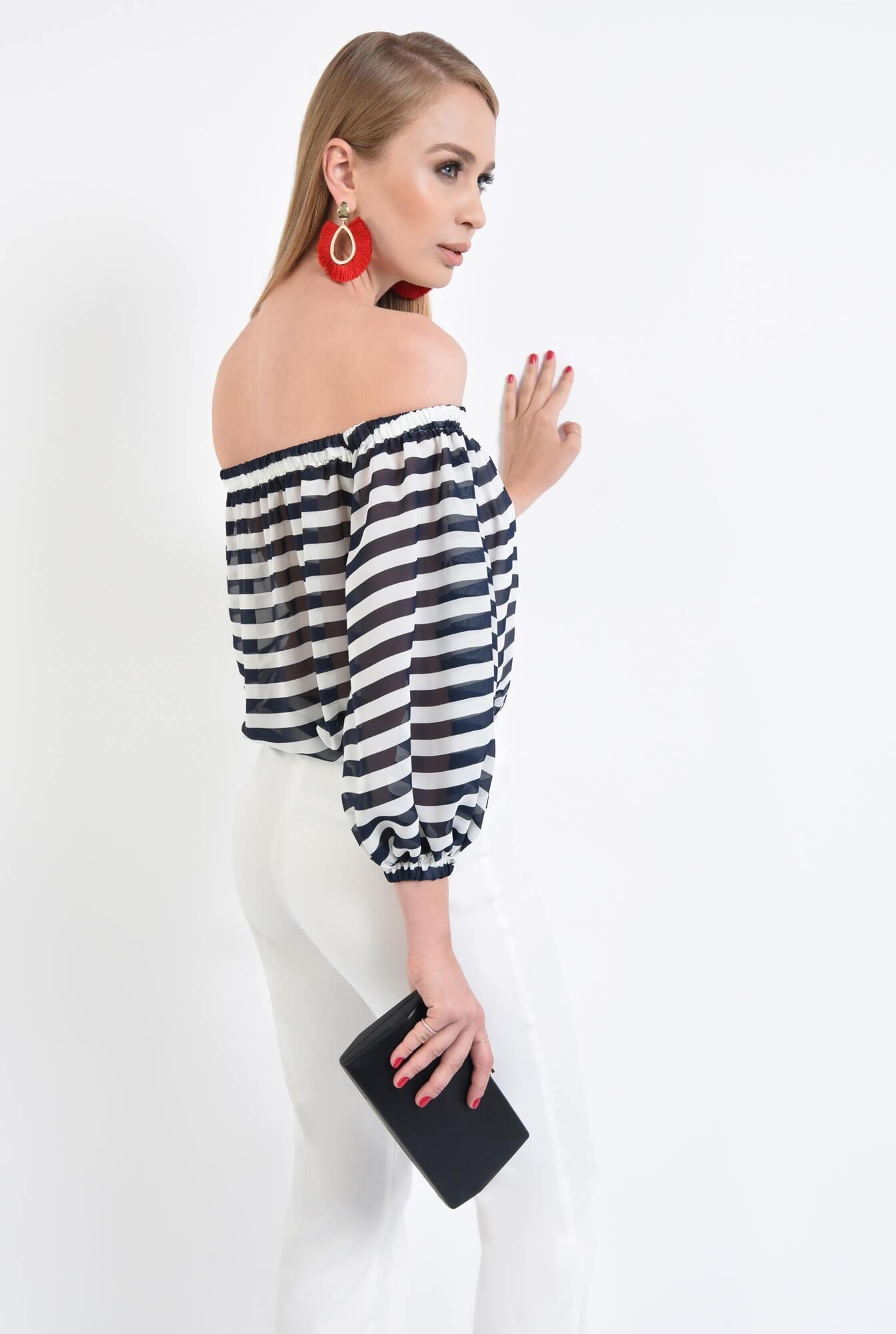 1 - bluza eleganta cu dungi, alb, bleumarin, decolteu elastic, sifon, maneci lungi