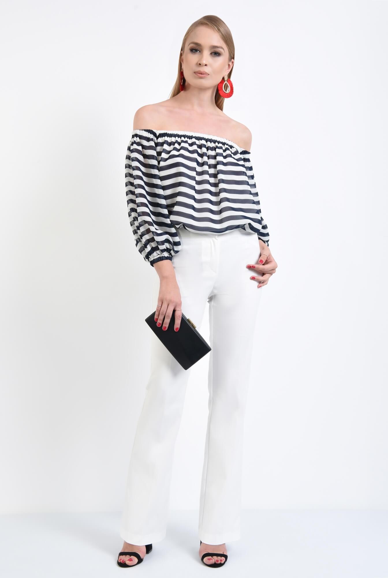3 - bluza eleganta cu dungi, alb, bleumarin, decolteu elastic, sifon, maneci lungi