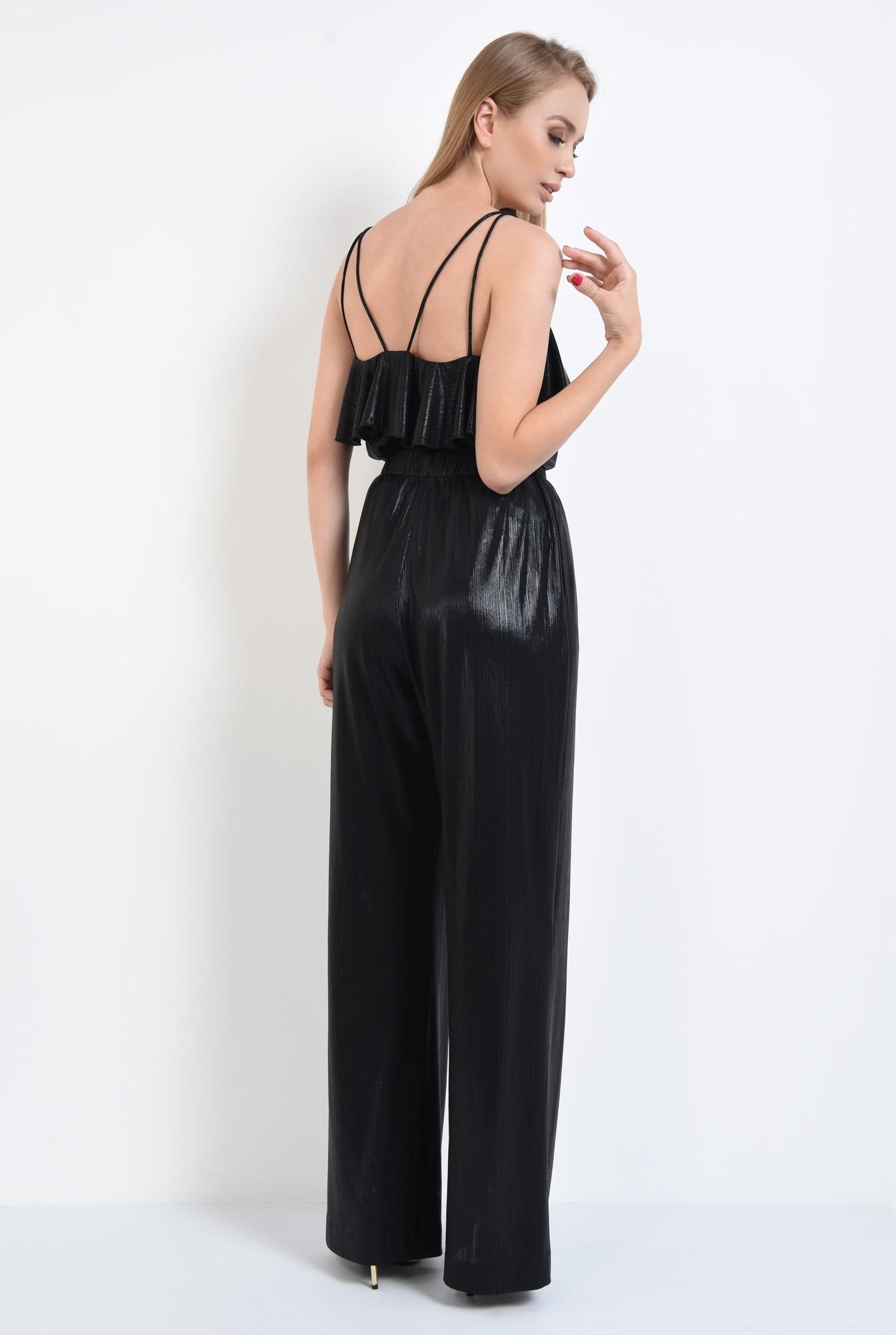 1 - pantaloni eleganti, evazati, croi lejer, negru