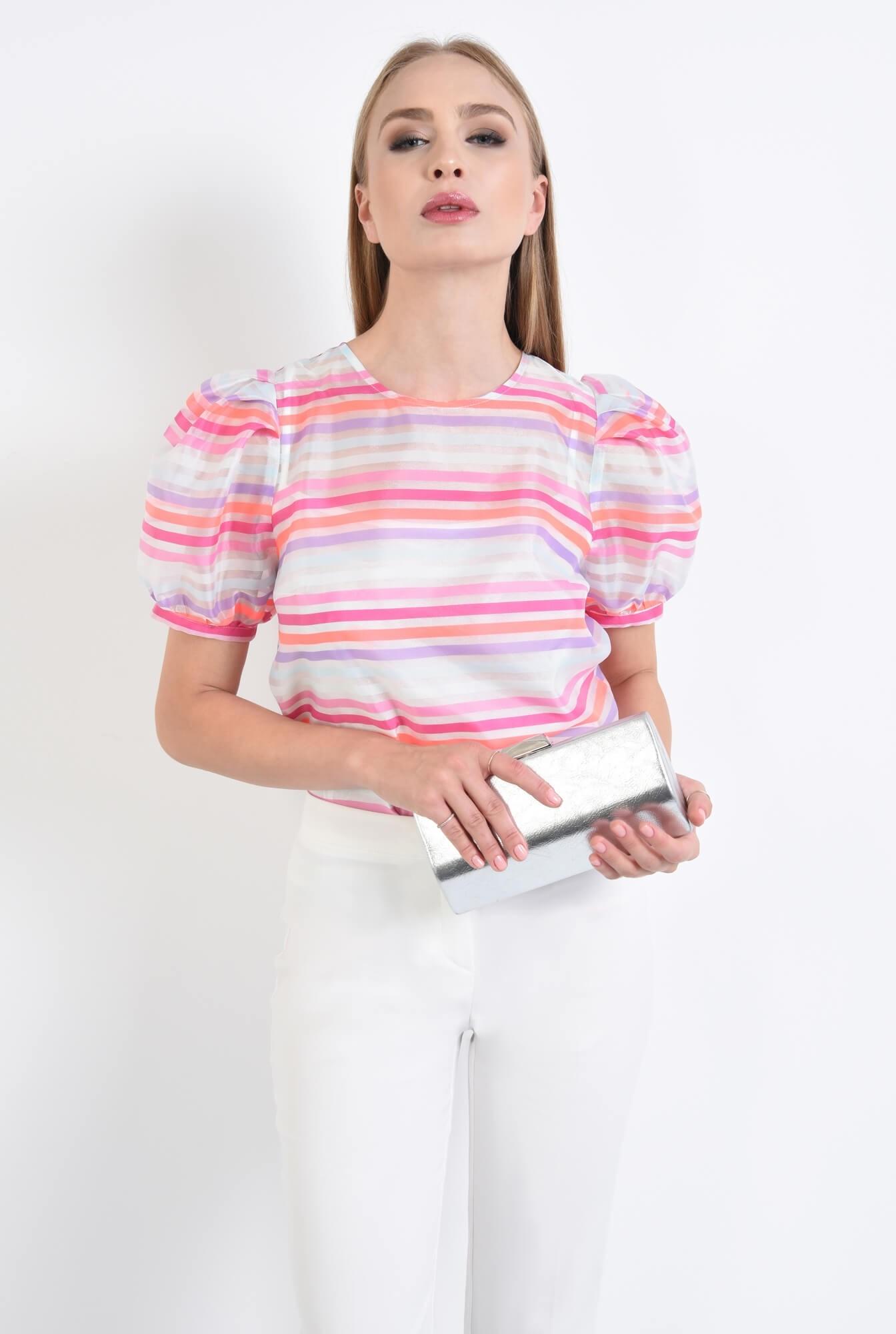 2 - bluza de ocazie, imprimeu dungi, roz, alb, bluze online