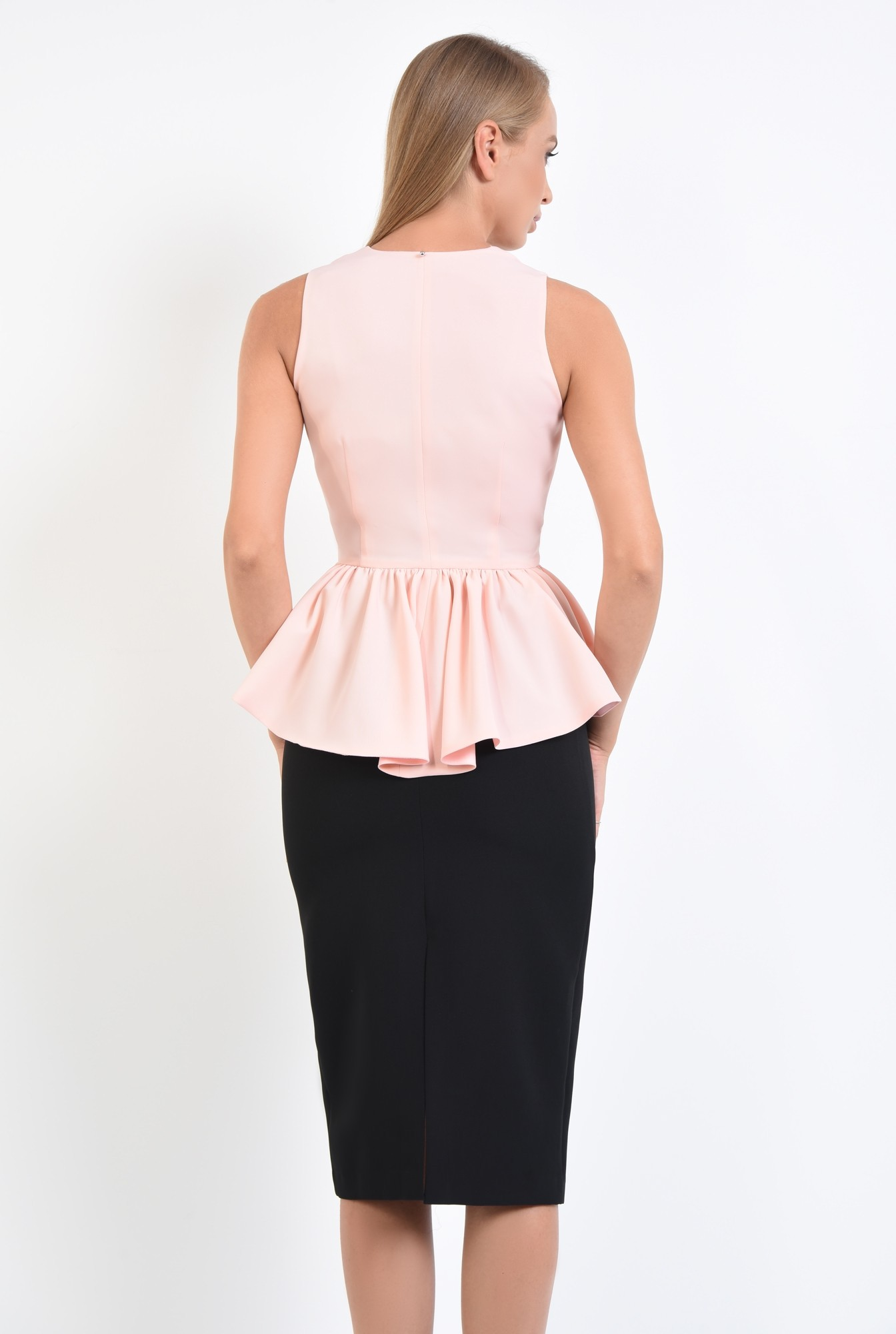 1 - 360 -   bluza roz, de ocazie, croi cambrat, cu volan