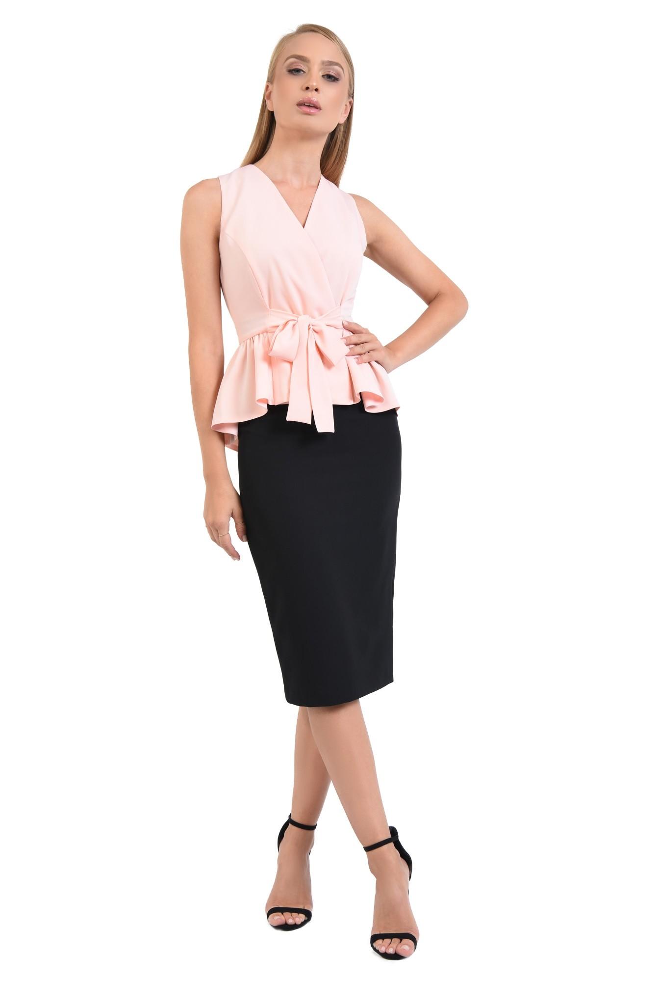 3 - 360 -   bluza roz, de ocazie, croi cambrat, cu volan