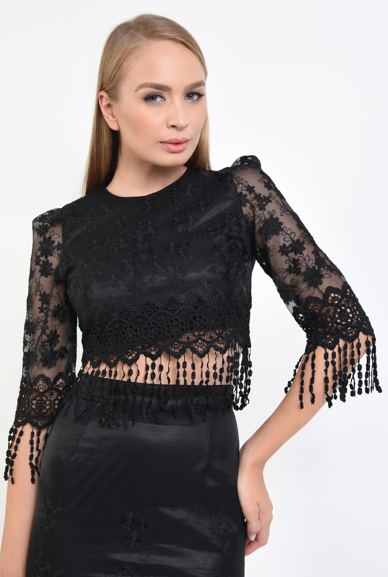 2 - bluza eleganta, cropped top, dantela, negru