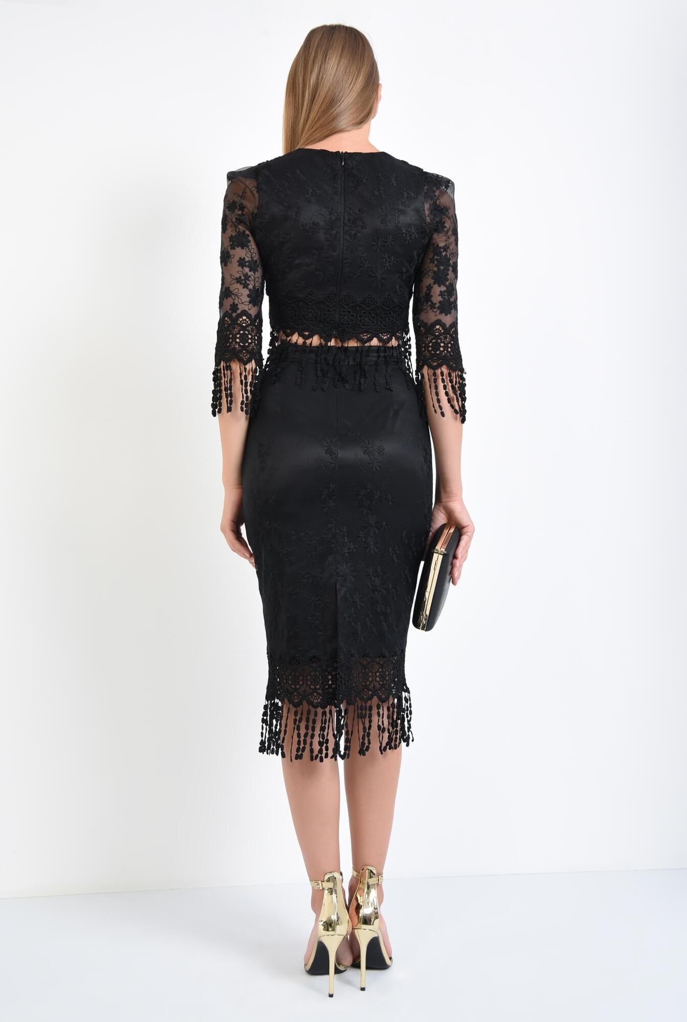 1 - bluza eleganta, cropped top, dantela, negru