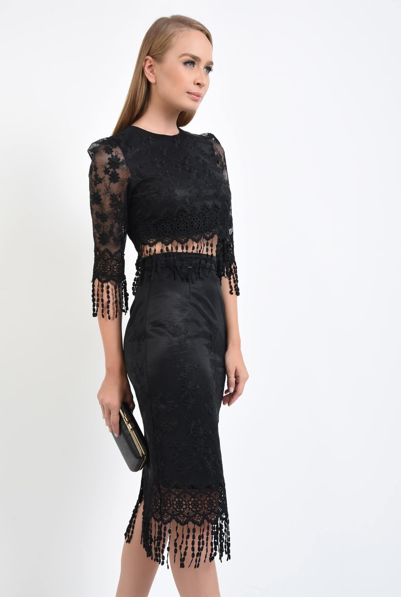 3 - bluza eleganta, cropped top, dantela, negru