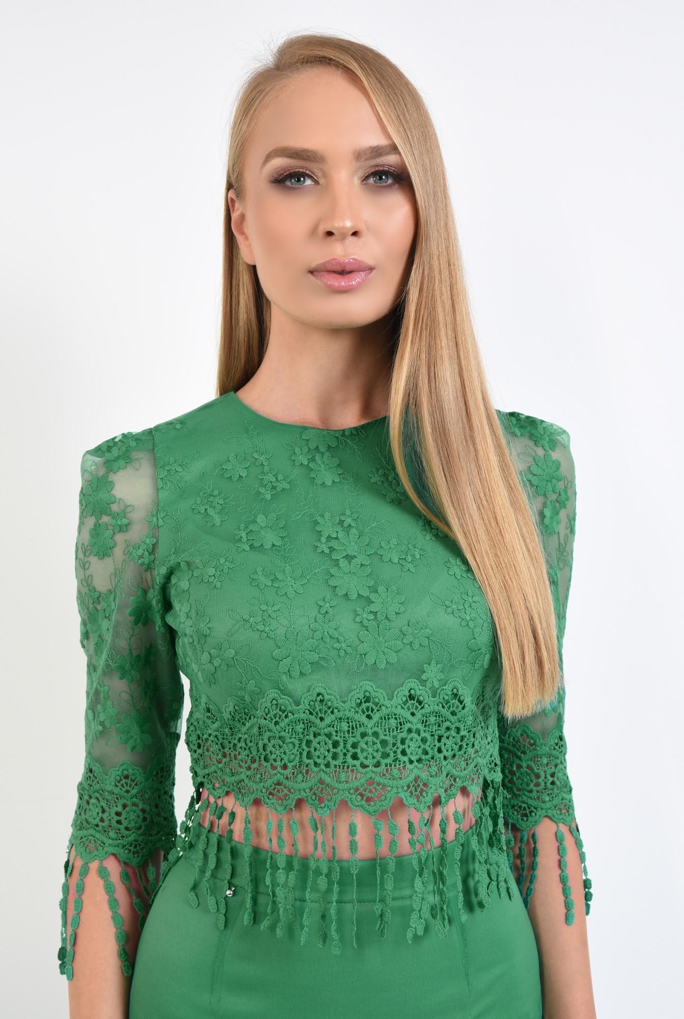 2 - 360 - bluza verde, din dantela, cu franjuri, broderie crosetata