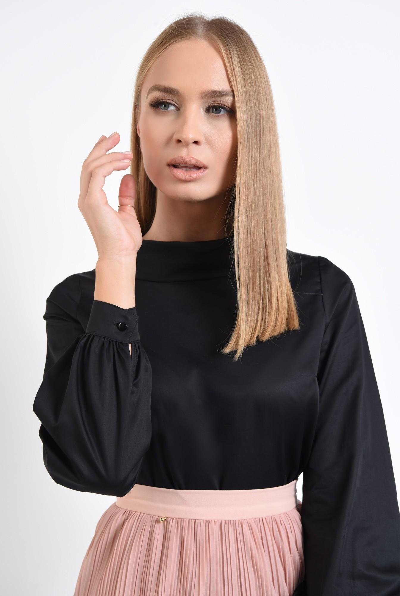 2 - 360 - bluza casual, din bumbac, neagra, guler inalt rulat