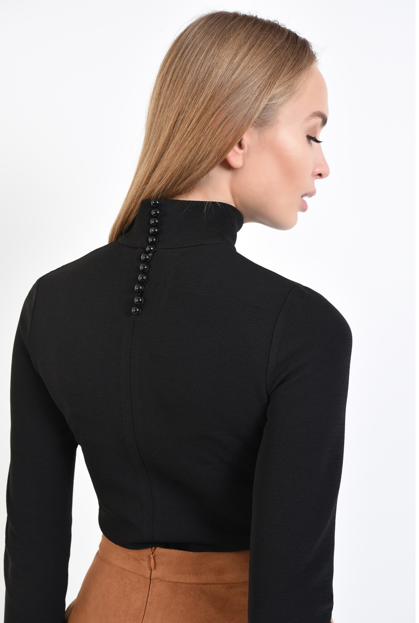 1 - bluza casual, neagra, mulata, helanca, nasturi decorativi
