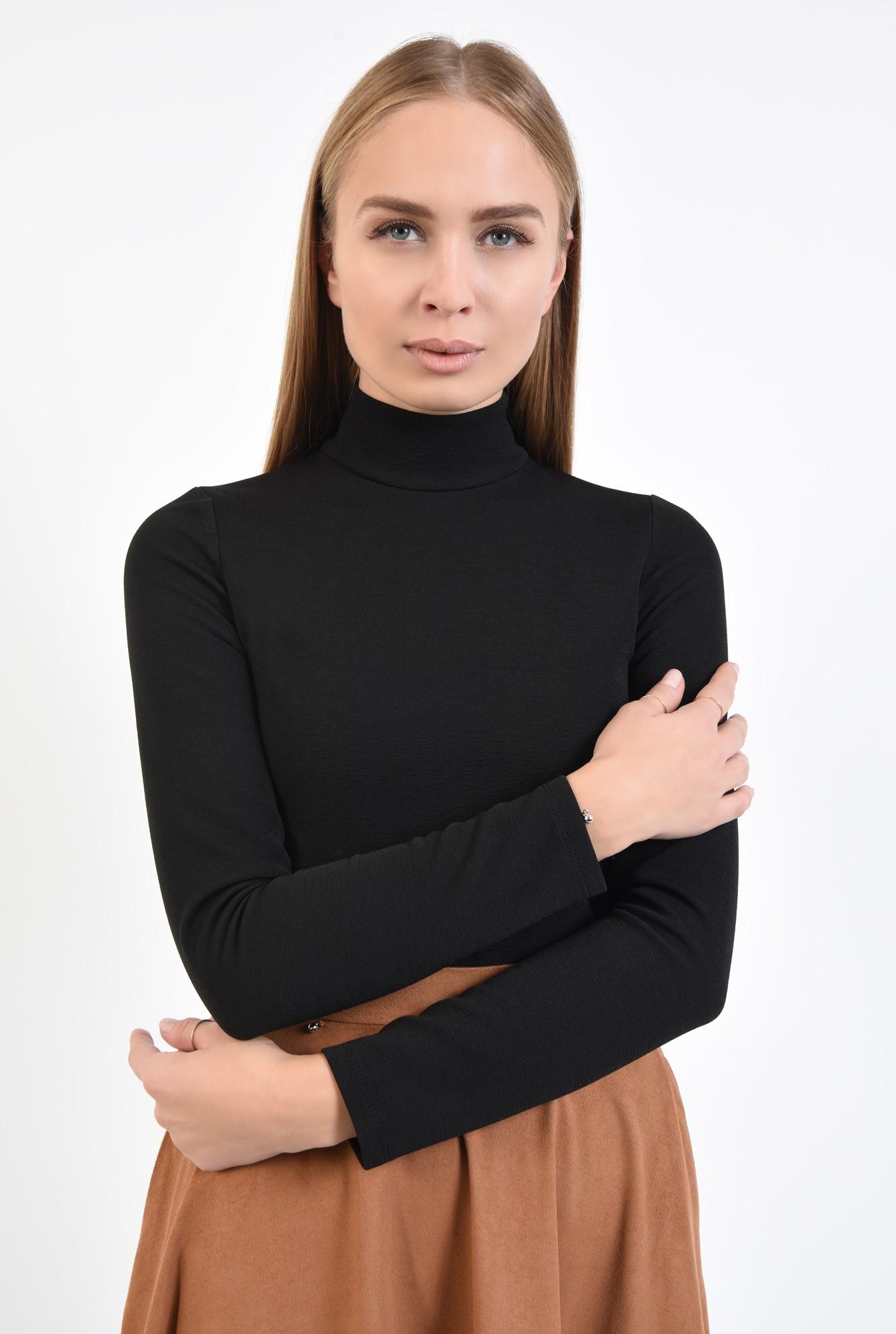 2 - bluza casual, neagra, mulata, helanca, nasturi decorativi