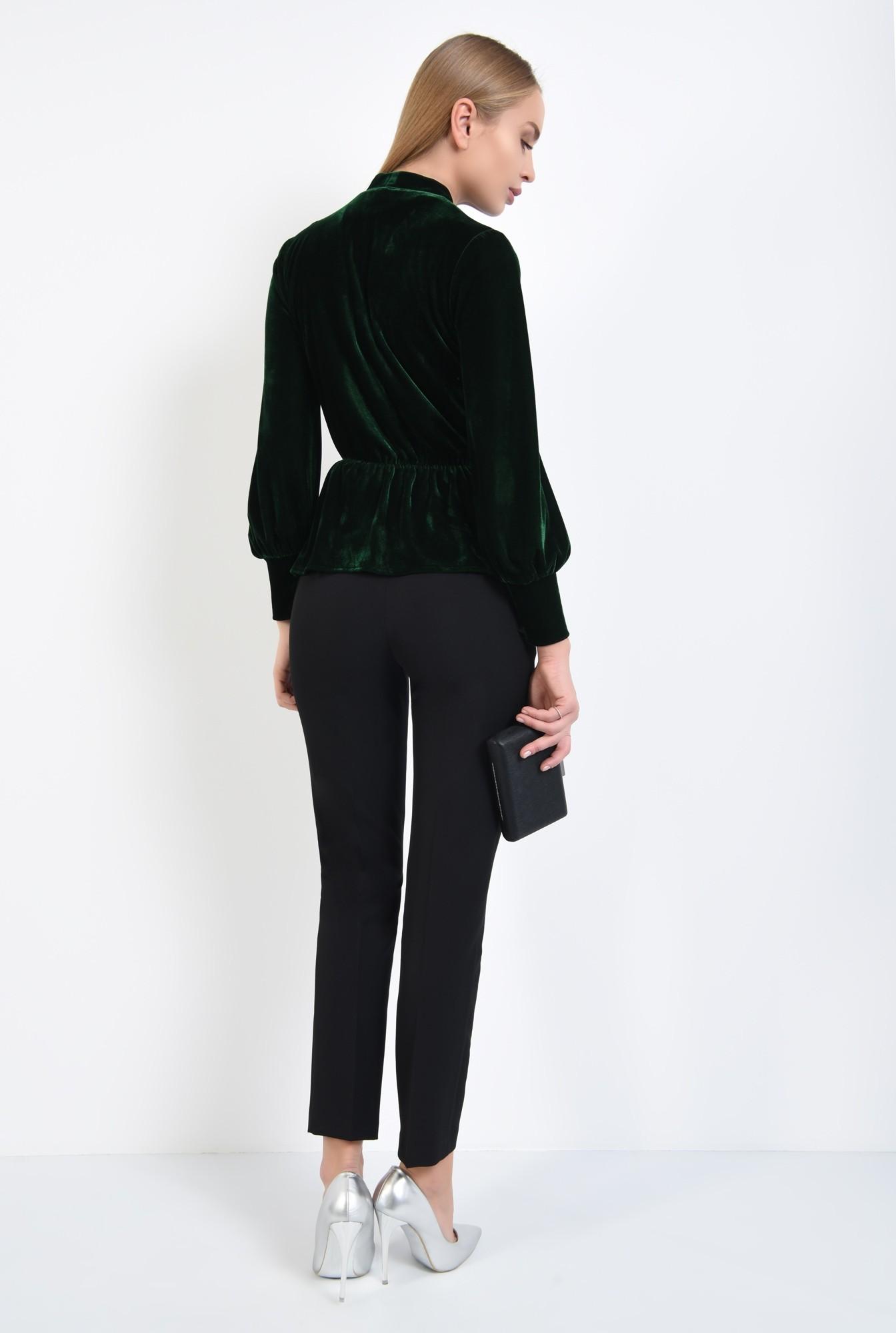 2 - 360 - bluza din catifea verde, cu funda, cu volan, maneci lungi