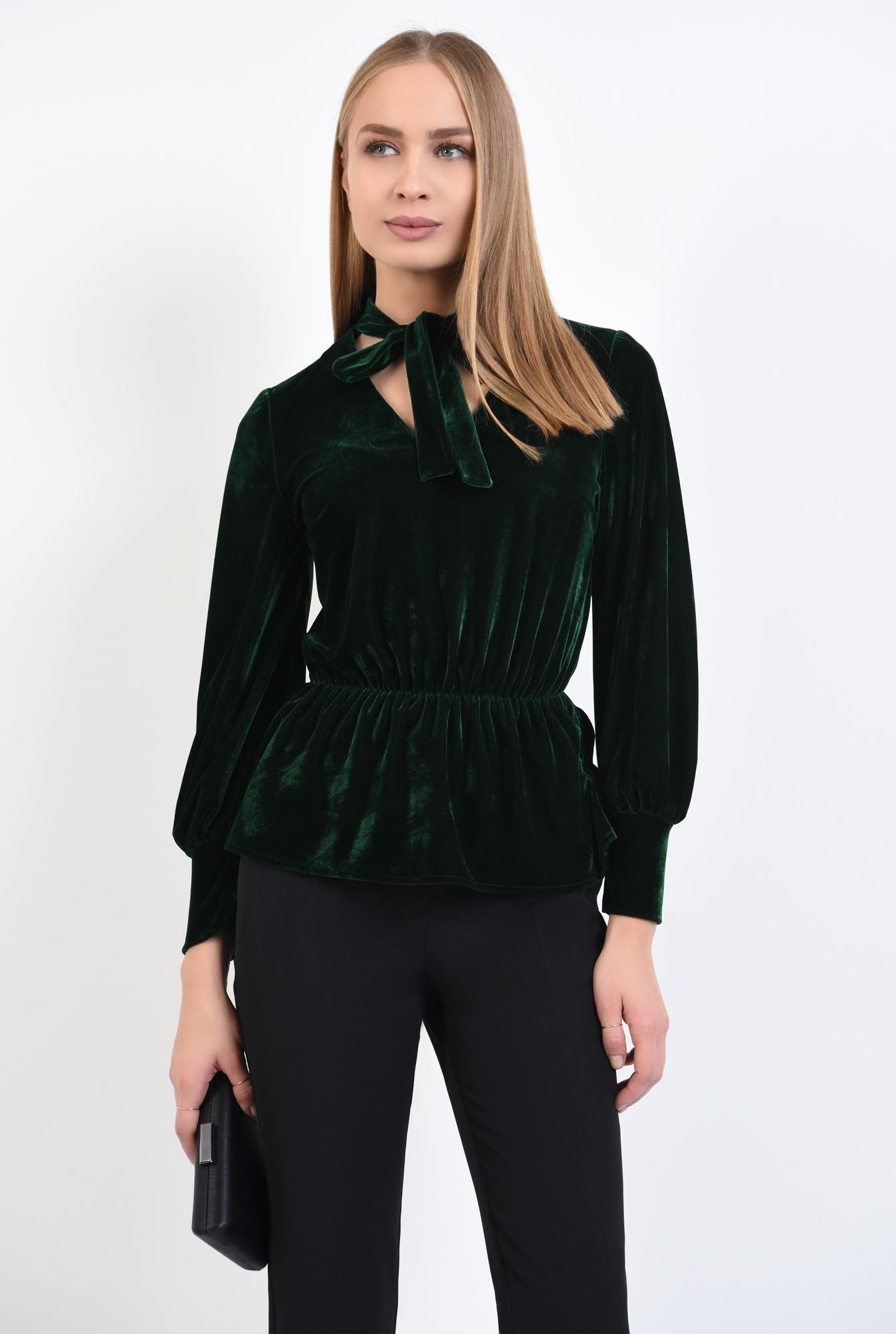 0 - 360 - bluza din catifea verde, cu funda, cu volan, maneci lungi