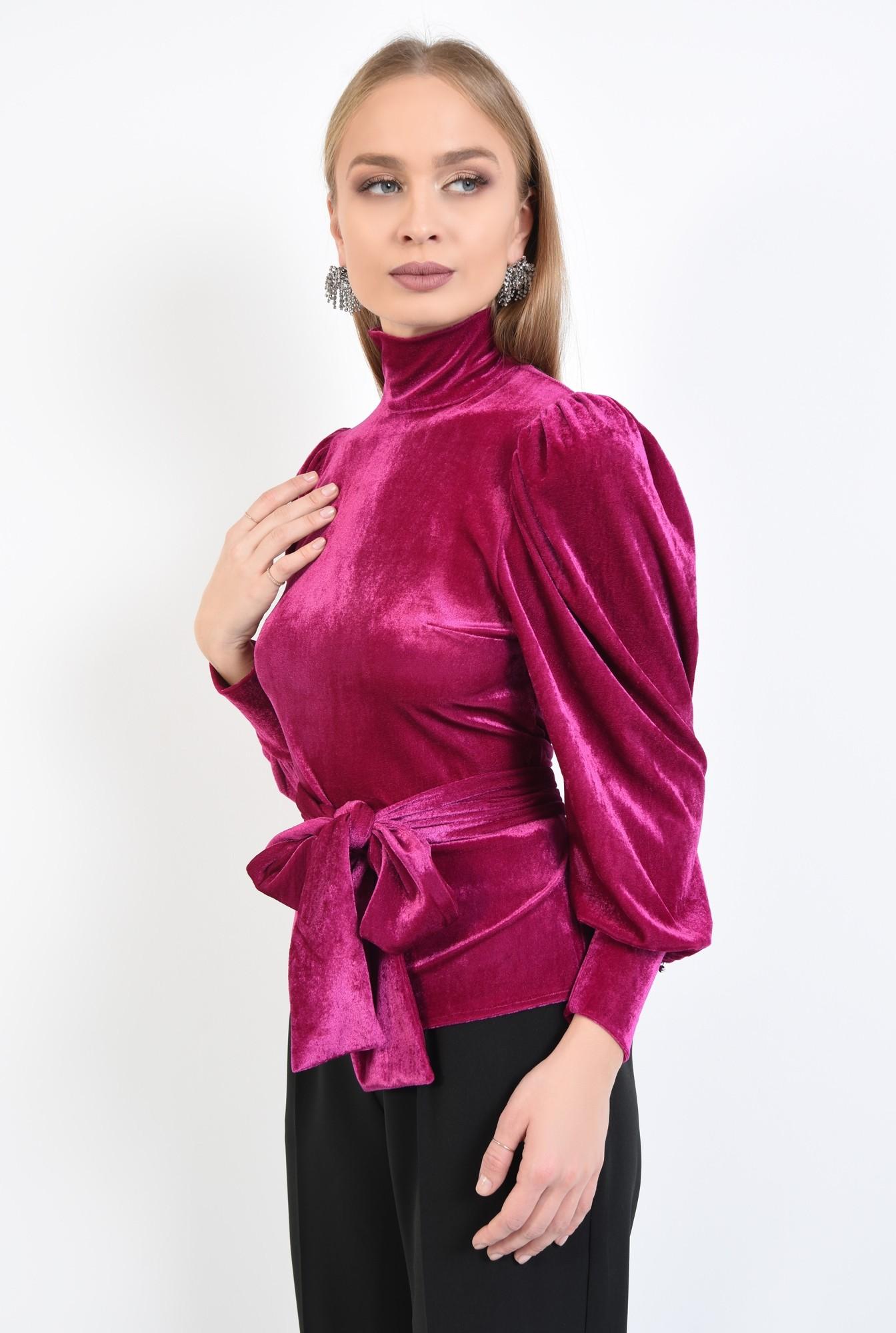 0 - 360 - bluza eleganta, roz ciclam, maneci bufante, funda la talie