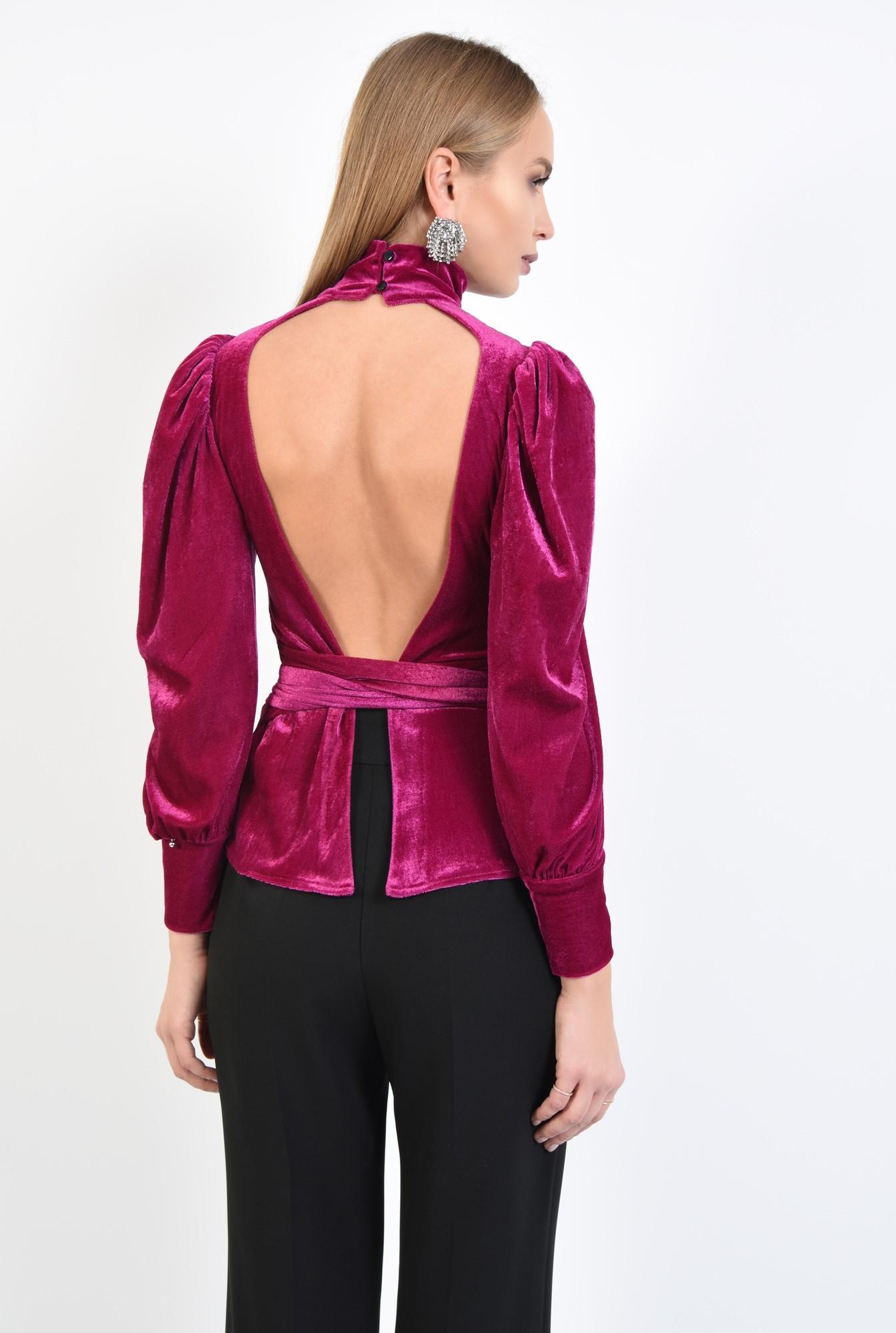 2 - 360 - bluza eleganta, roz ciclam, maneci bufante, funda la talie