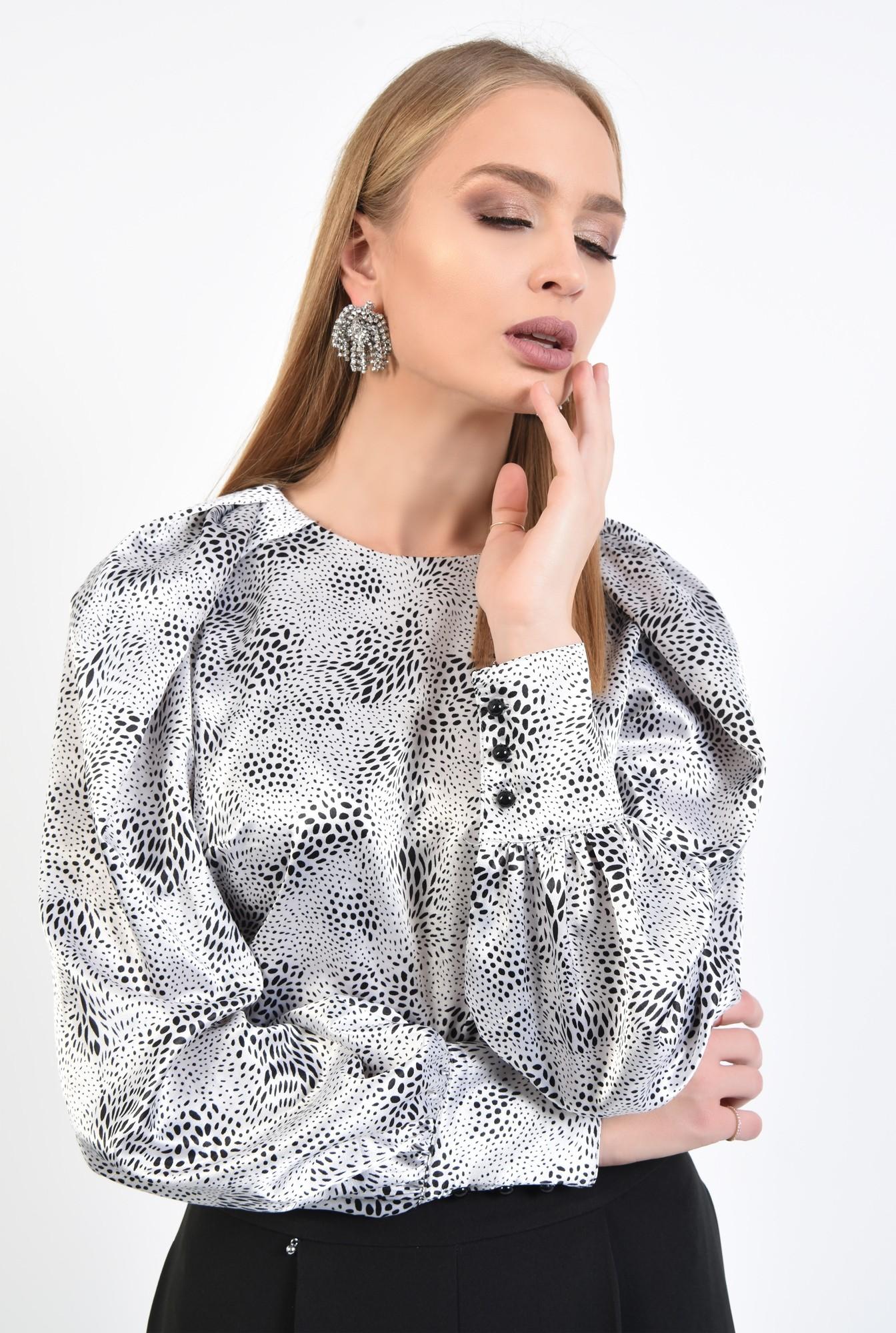 2 - 360 - bluza de ocazie, din satin, maneci fantezie, alb-negru