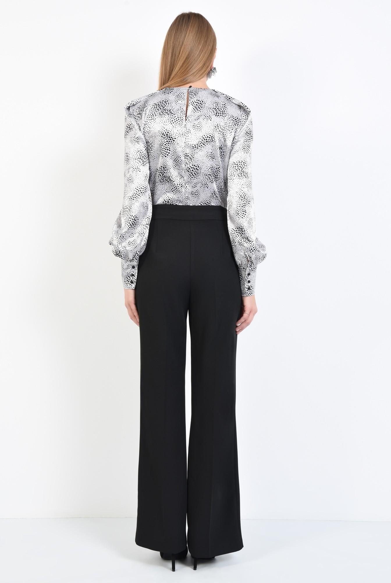 1 - 360 - bluza de ocazie, din satin, maneci fantezie, alb-negru