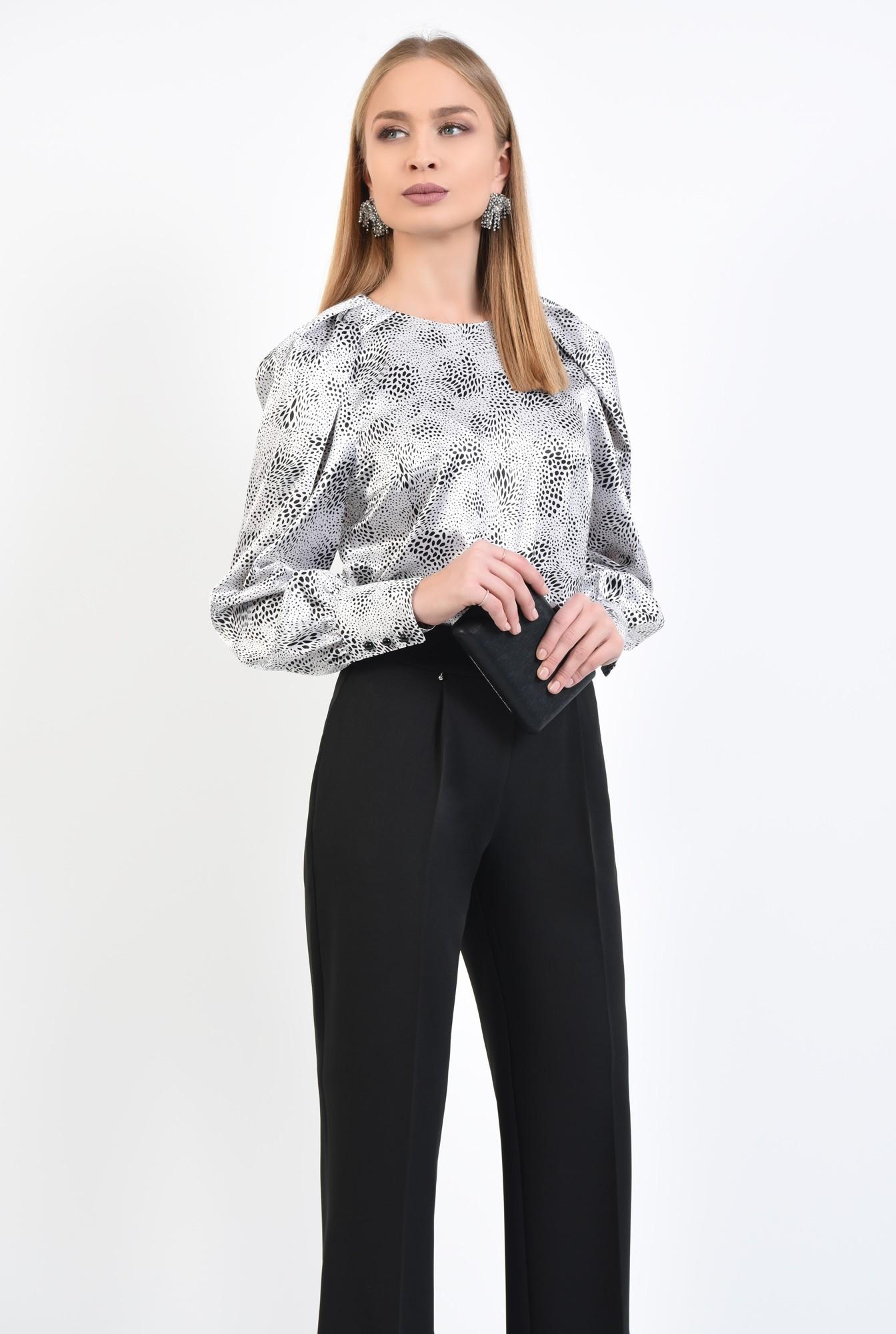 0 - 360 - bluza de ocazie, din satin, maneci fantezie, alb-negru