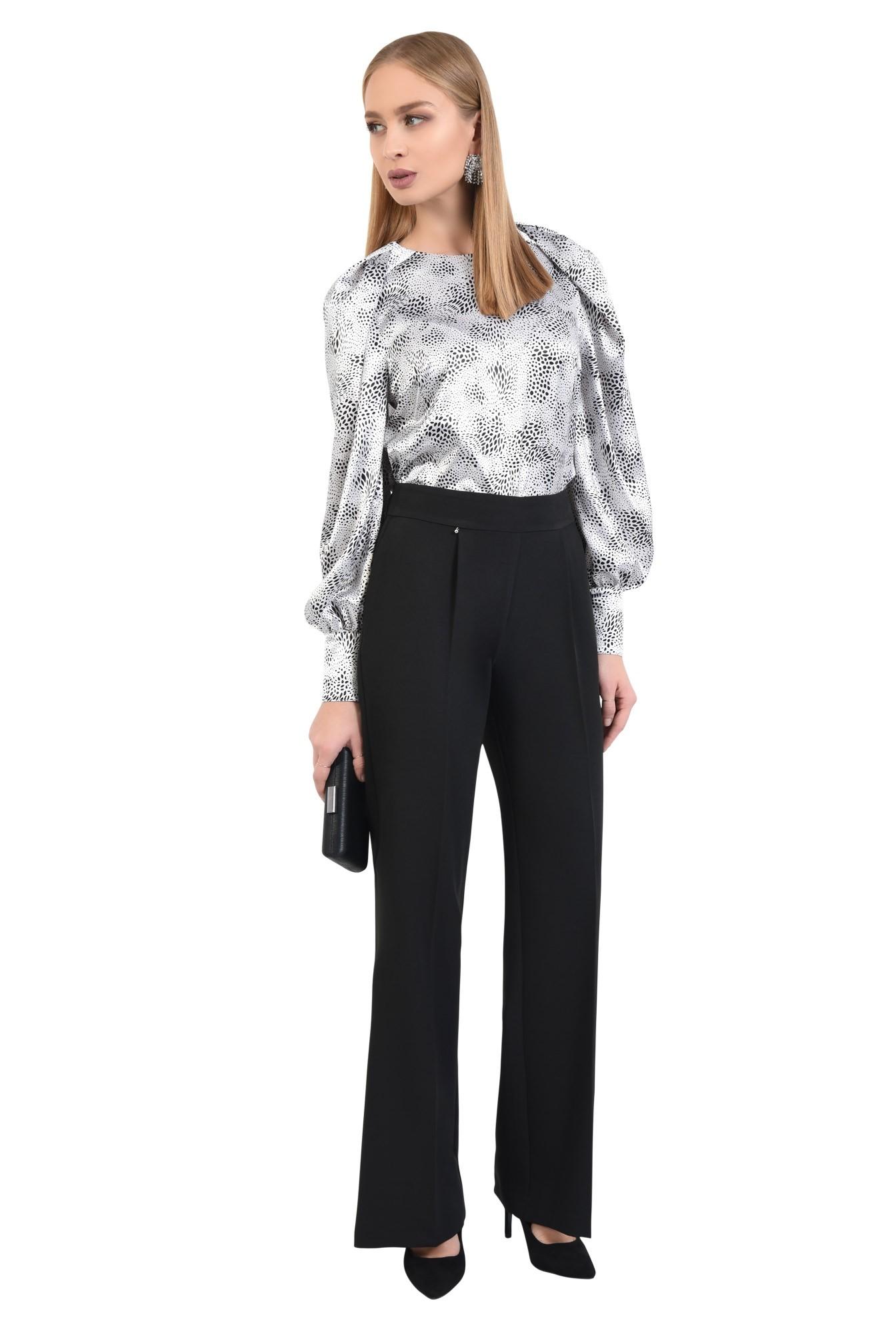 3 - 360 - bluza de ocazie, din satin, maneci fantezie, alb-negru