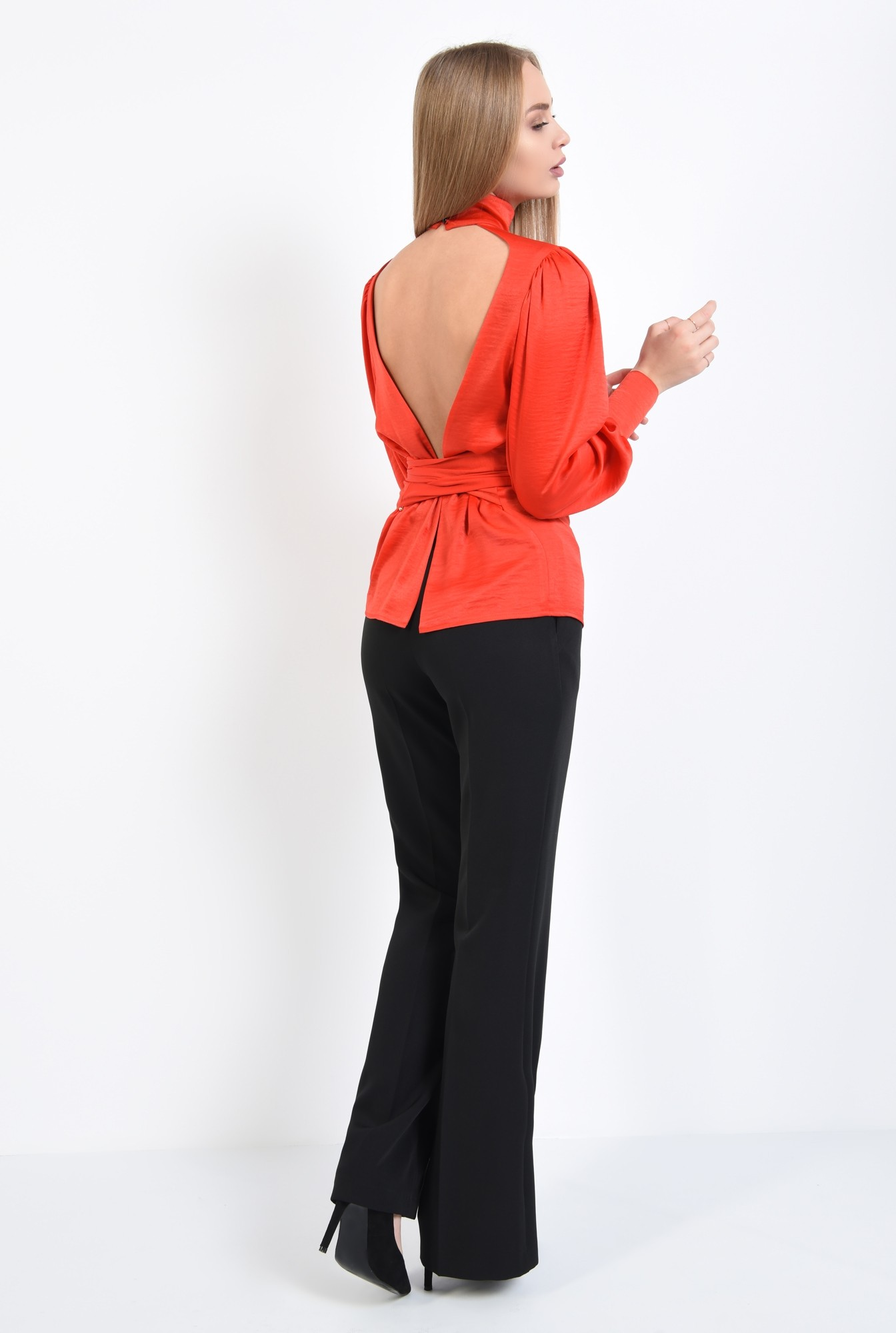 1 - 360 - bluza de ocazie, rosu, cu funda, cu maneci lungi