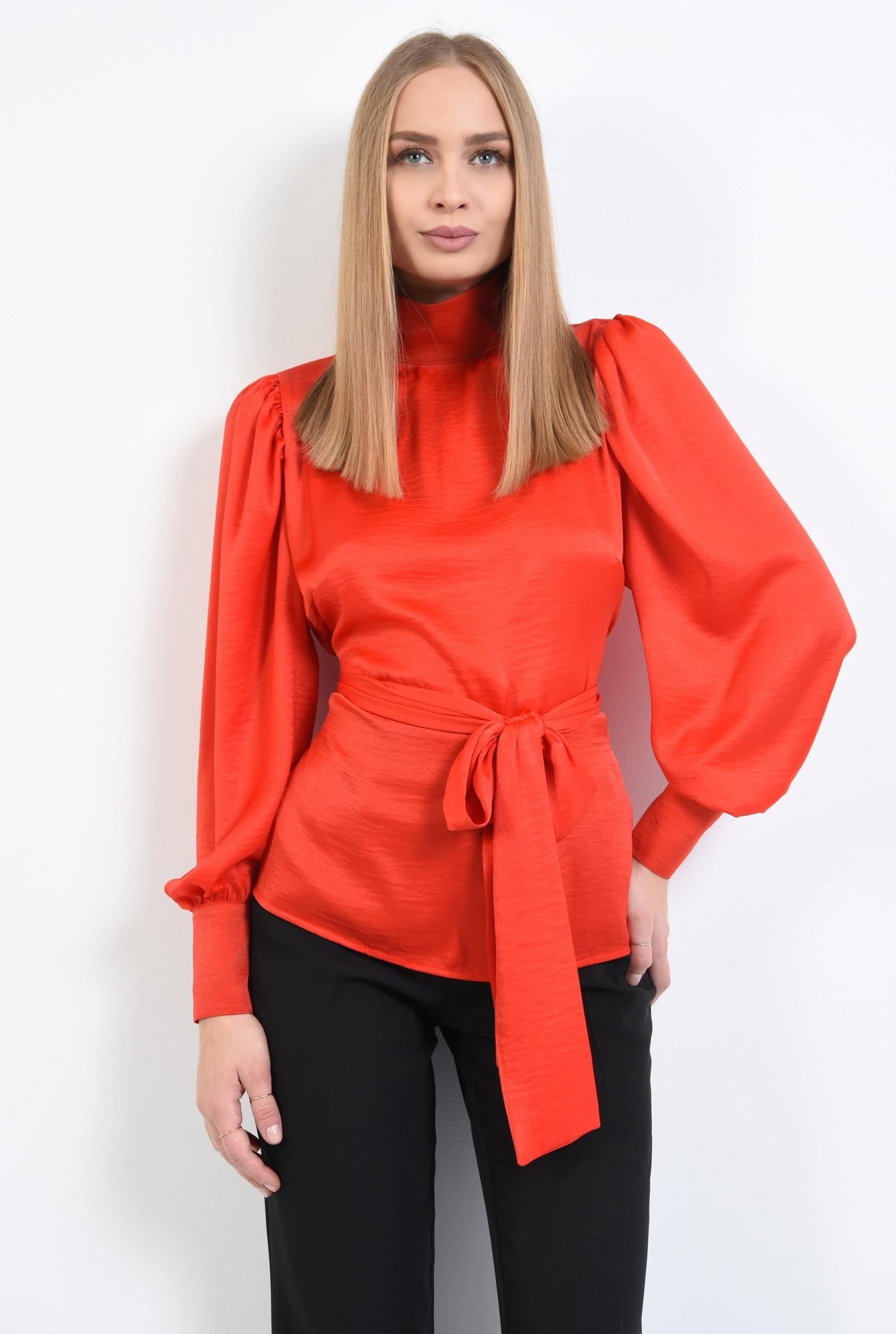 0 - 360 - bluza de ocazie, rosu, cu funda, cu maneci lungi