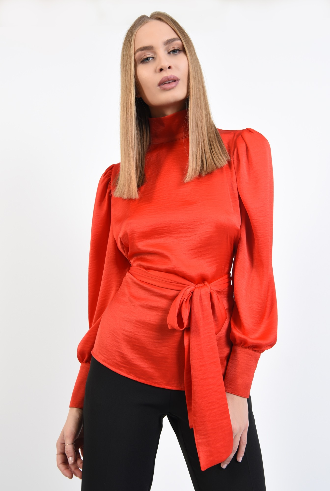 2 - 360 - bluza de ocazie, rosu, cu funda, cu maneci lungi