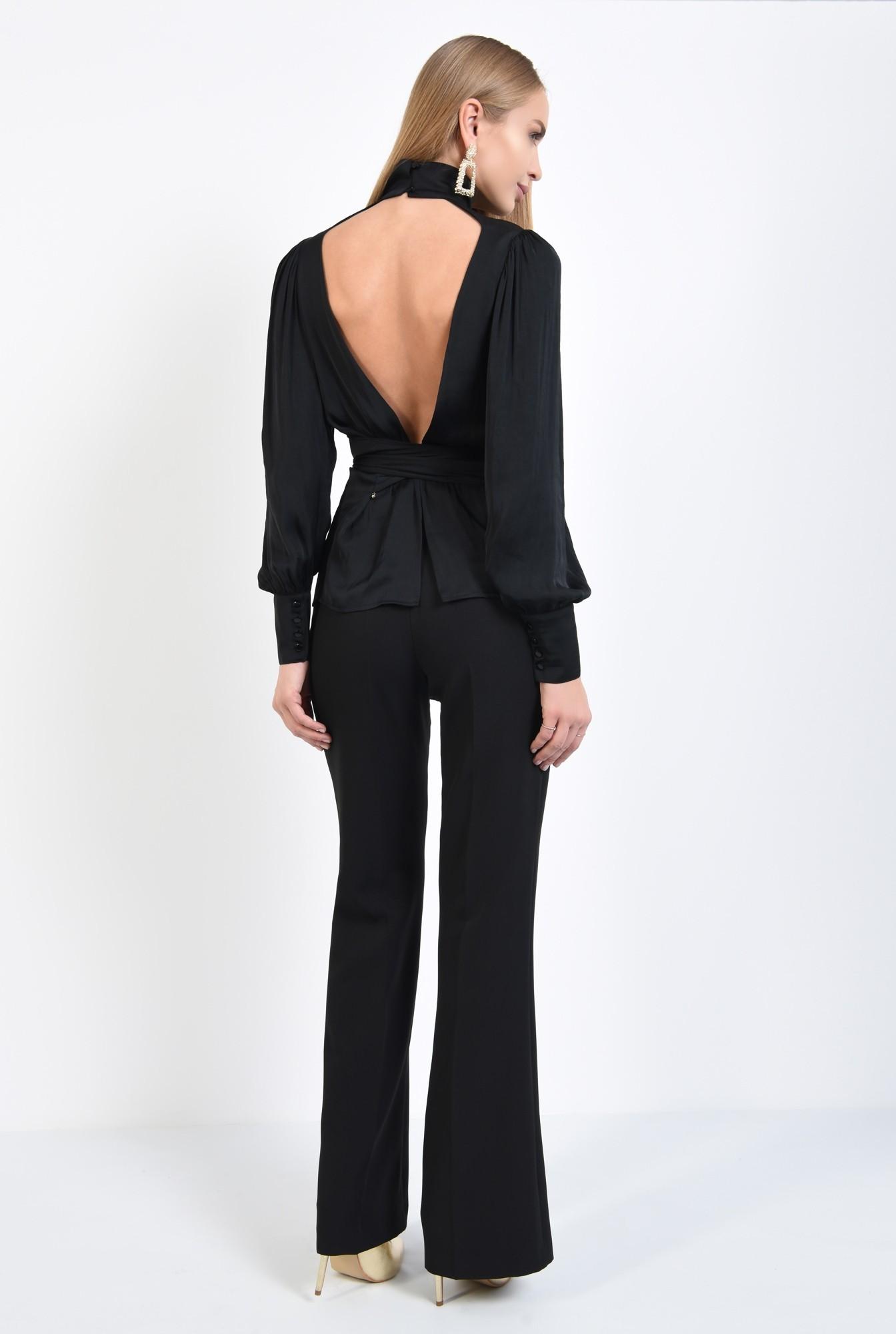 1 - bluza de ocazie, neagra, cu spate decoltat in V, funda in fata sau in spate