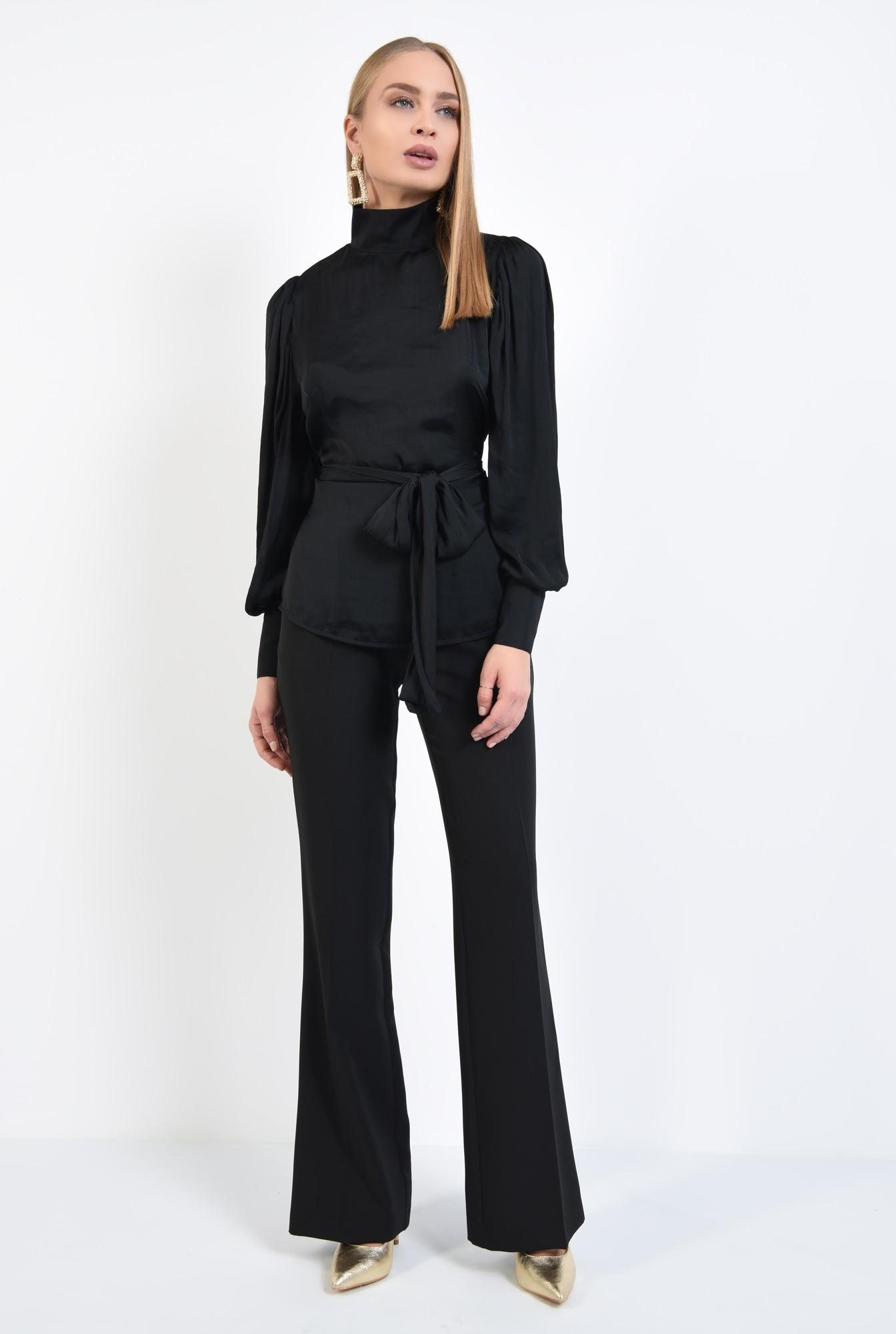 3 - bluza de ocazie, neagra, cu spate decoltat in V, funda in fata sau in spate