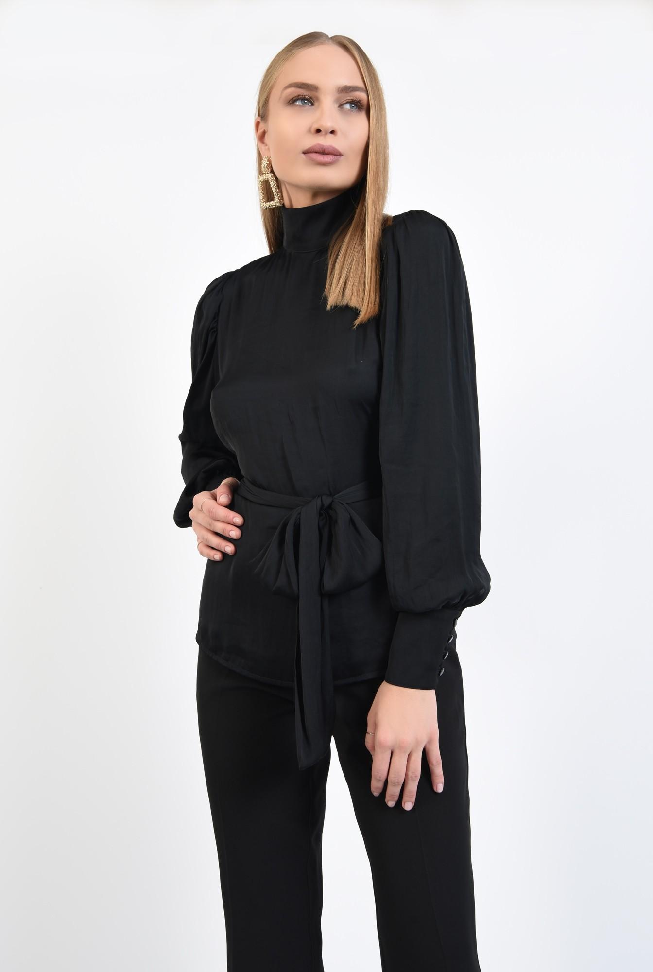 0 - bluza de ocazie, neagra, cu spate decoltat in V, funda in fata sau in spate