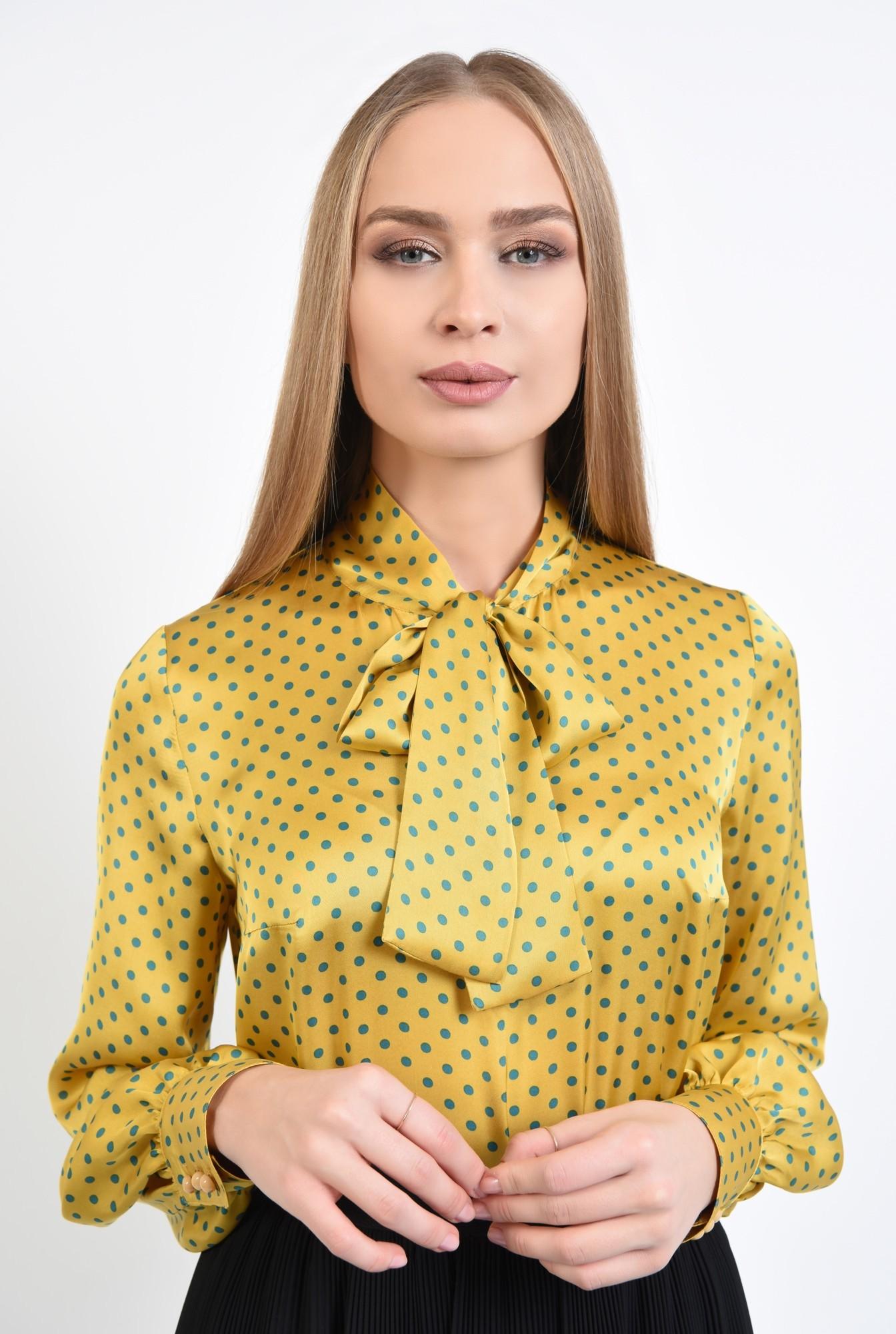 2 - 360 - bluza de zi, din satin, picouri, mustar, funda esarfa
