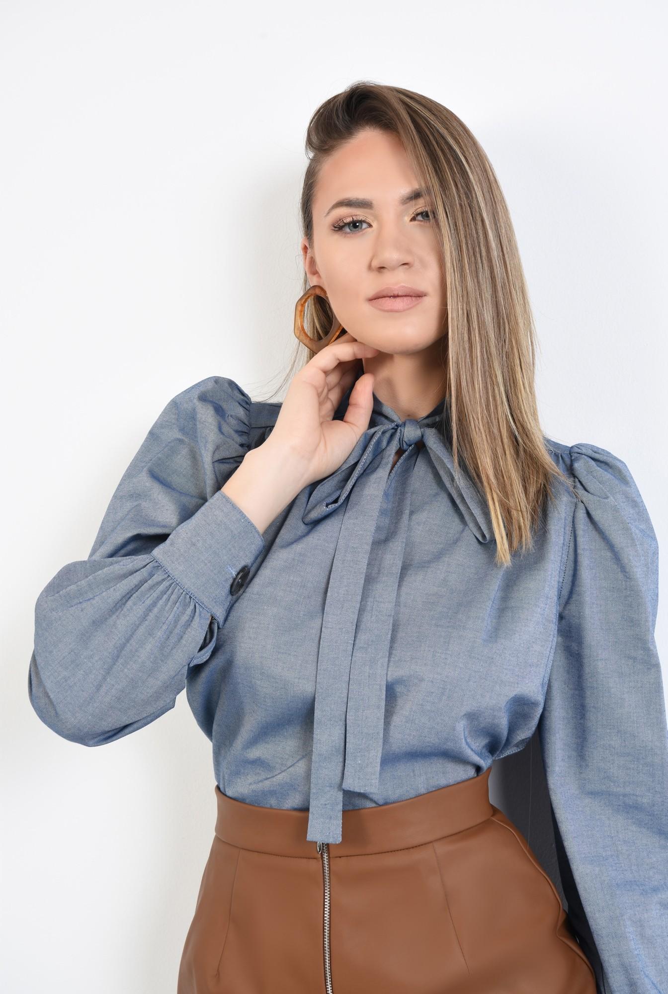 2 - bluza casual, cu funda la gat, bleu, denim, maneci bufante