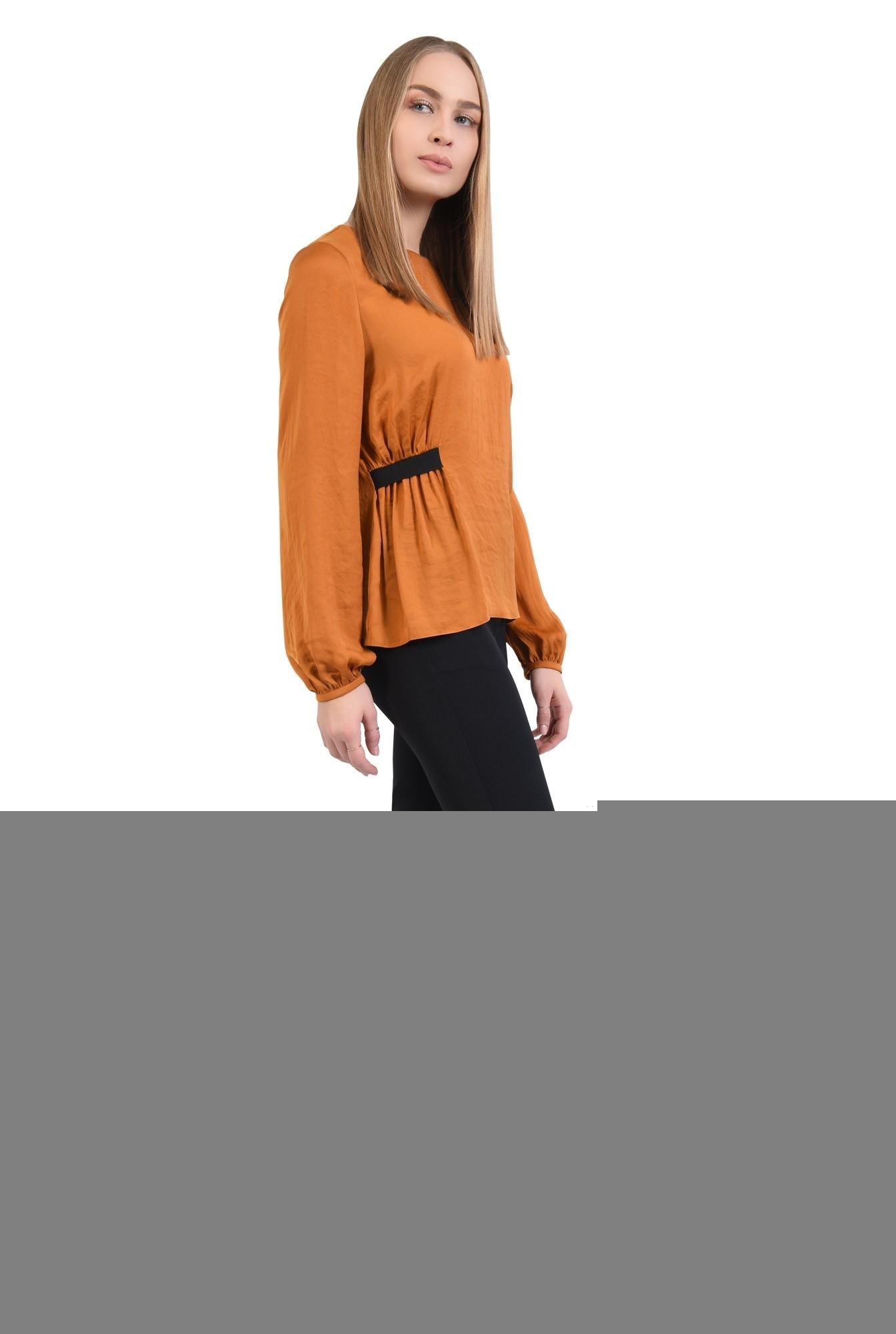 0 - bluza mustar, casual, satinata, rips decorativ, maneci lungi
