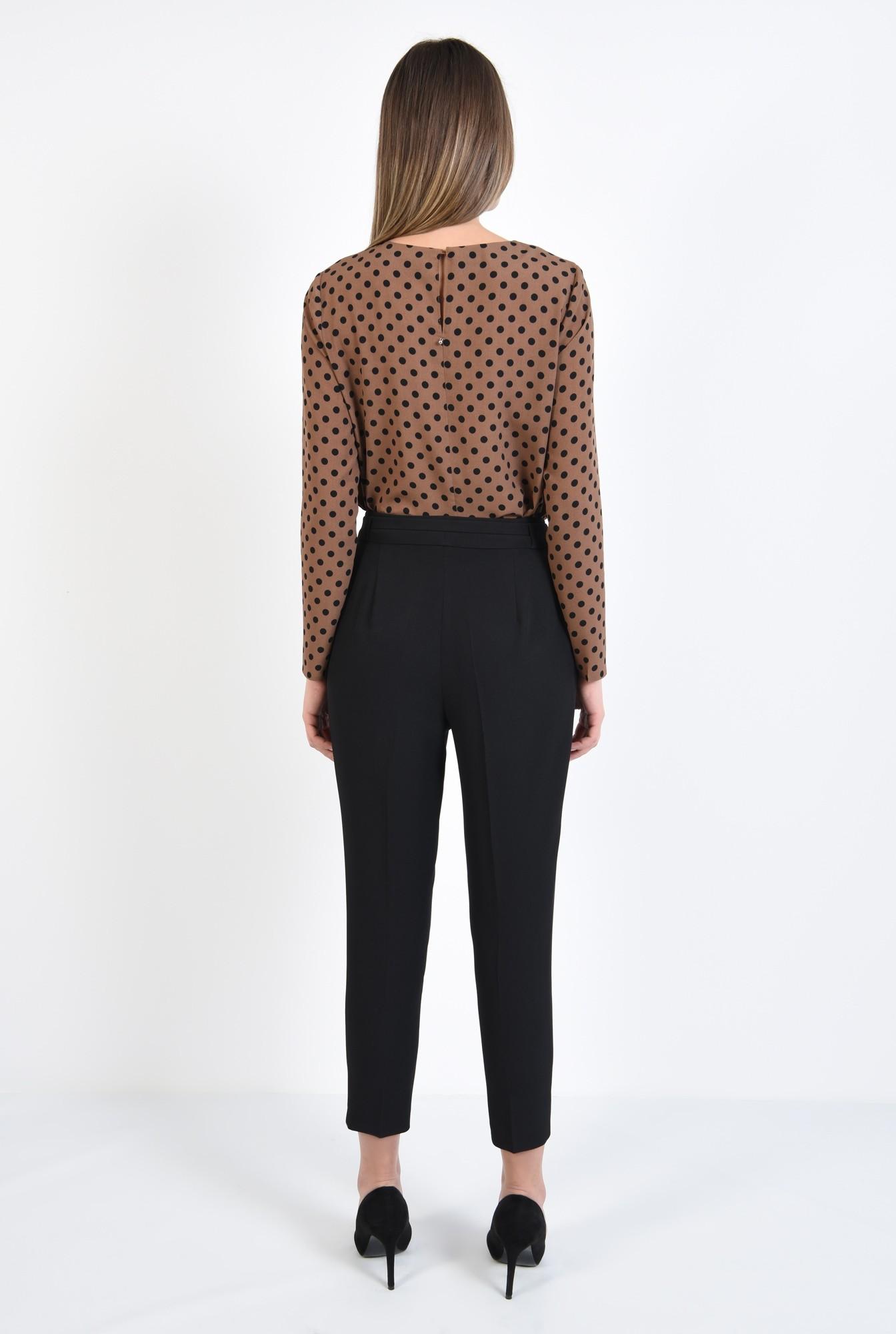 0 - 360 - bluza cu imprimeu, maro cu buline negre, maneci drepte