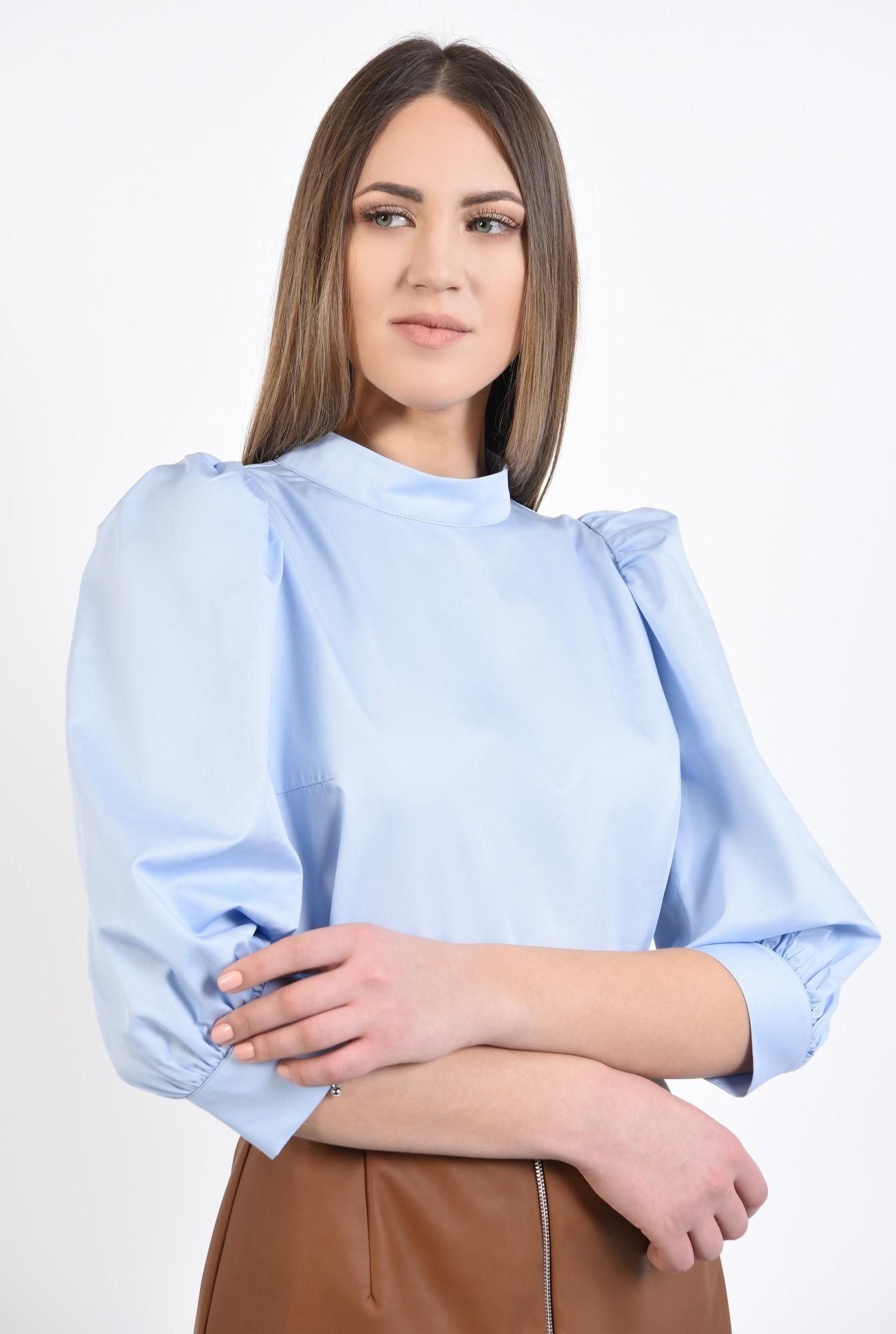 2 - 360 - bluza casual, bleu, croi drept, maneci bufante