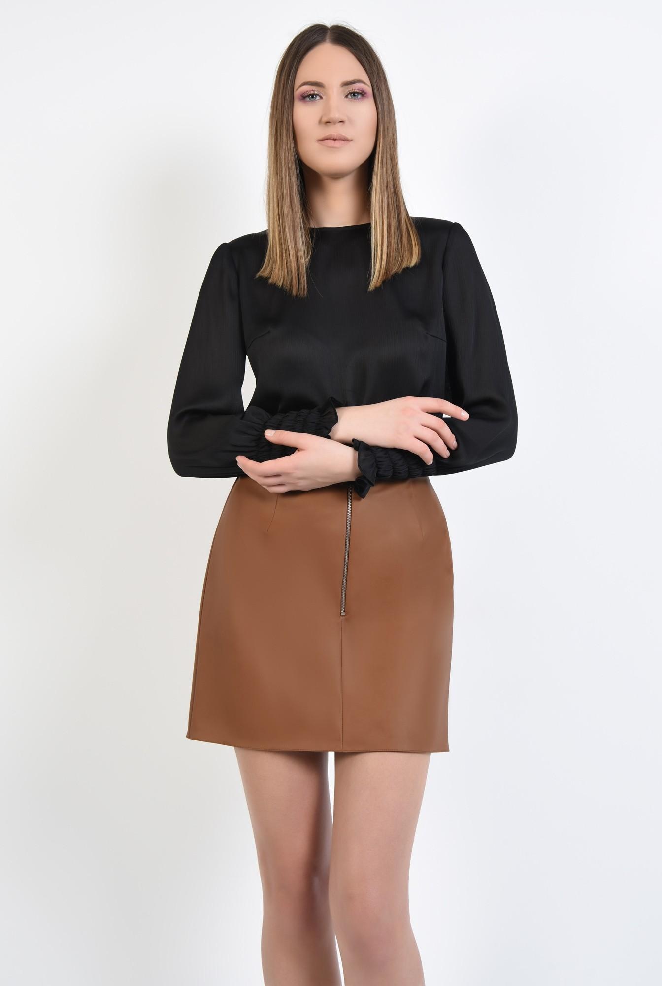 0 - 360 - bluza eleganta, din crep, tesatura texturata, bluza neagra, bluze online