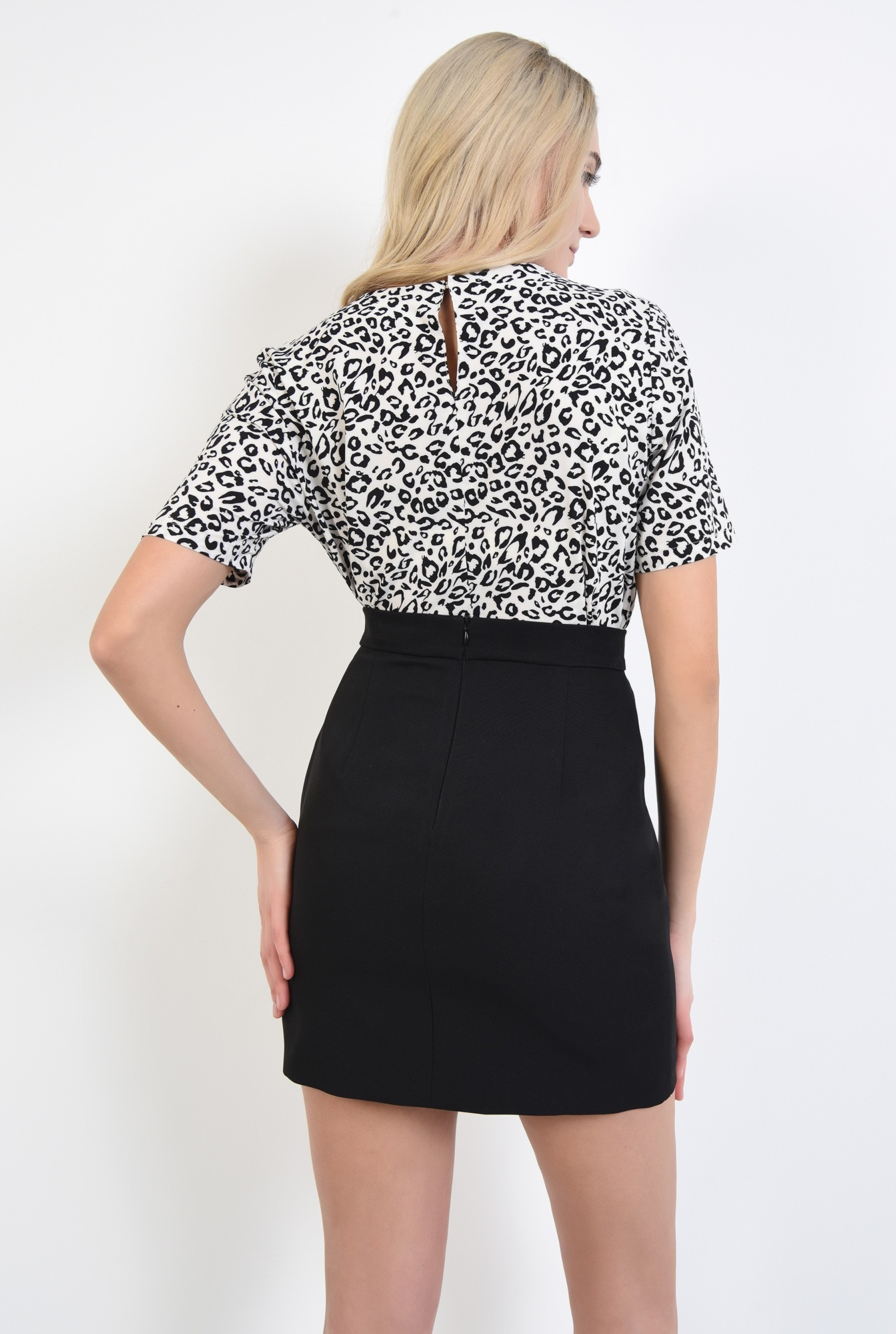 1 - bluze online, bluza de zi, imprimeu leopard, alb-negru, decolteu rotund la baza gatului