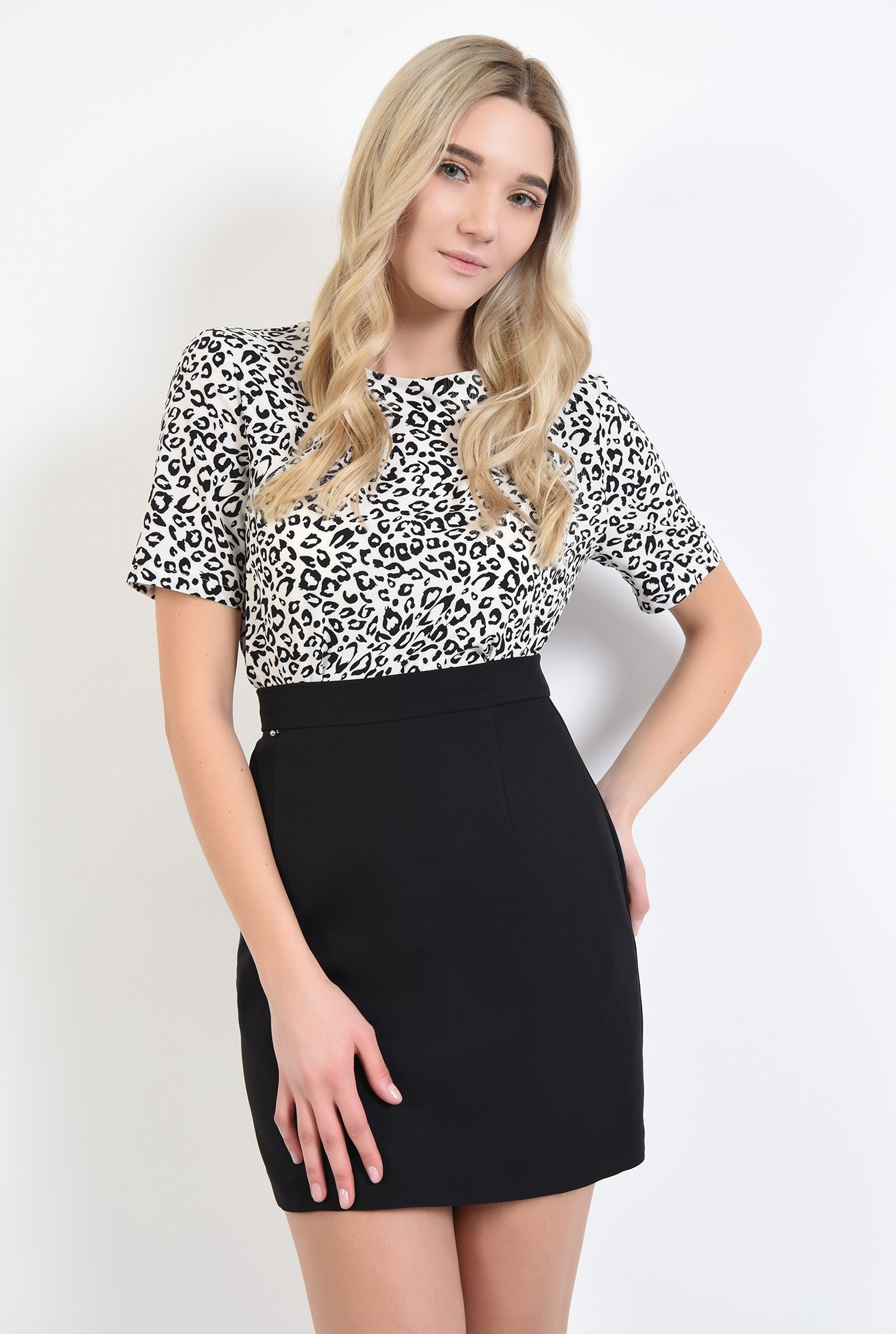 2 - bluze online, bluza de zi, imprimeu leopard, alb-negru, decolteu rotund la baza gatului