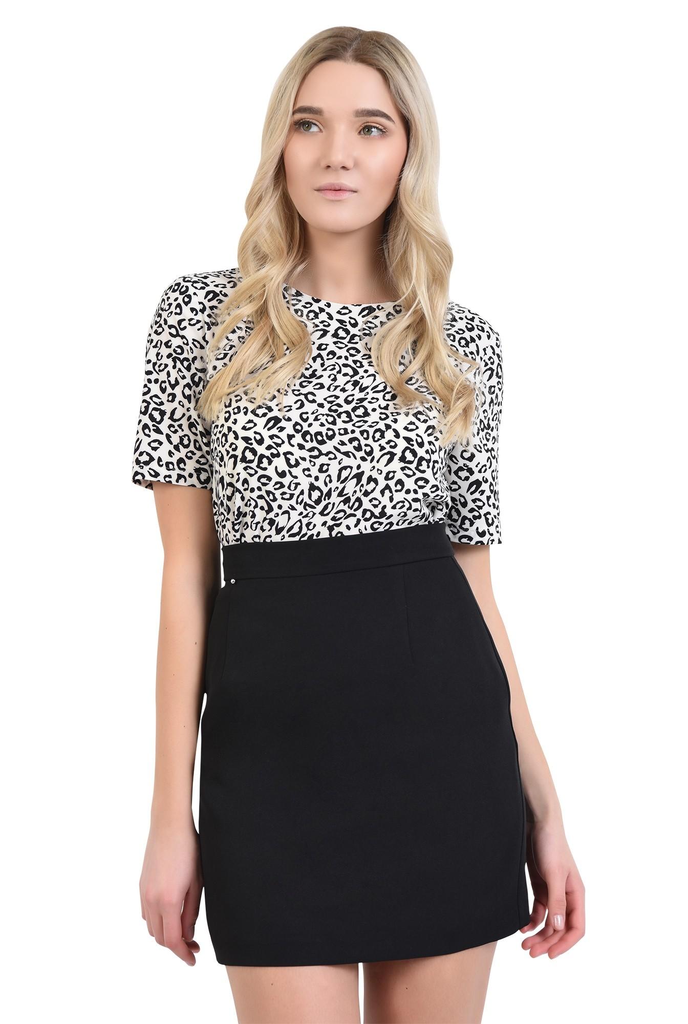0 - bluze online, bluza de zi, imprimeu leopard, alb-negru, decolteu rotund la baza gatului