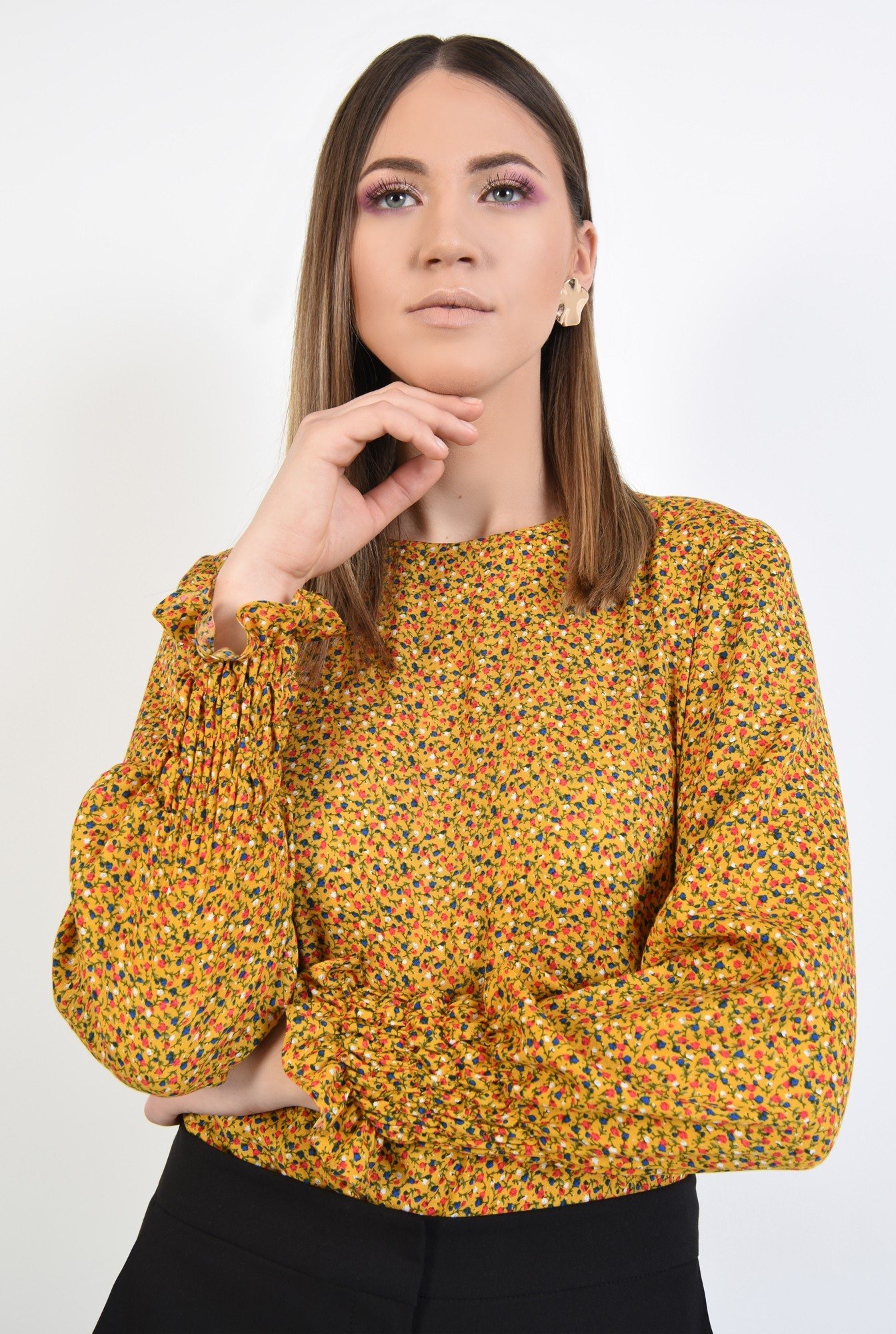 0 - 360 - bluza casual, din viscoza imprimata, maneci lungi cu mansete elastice
